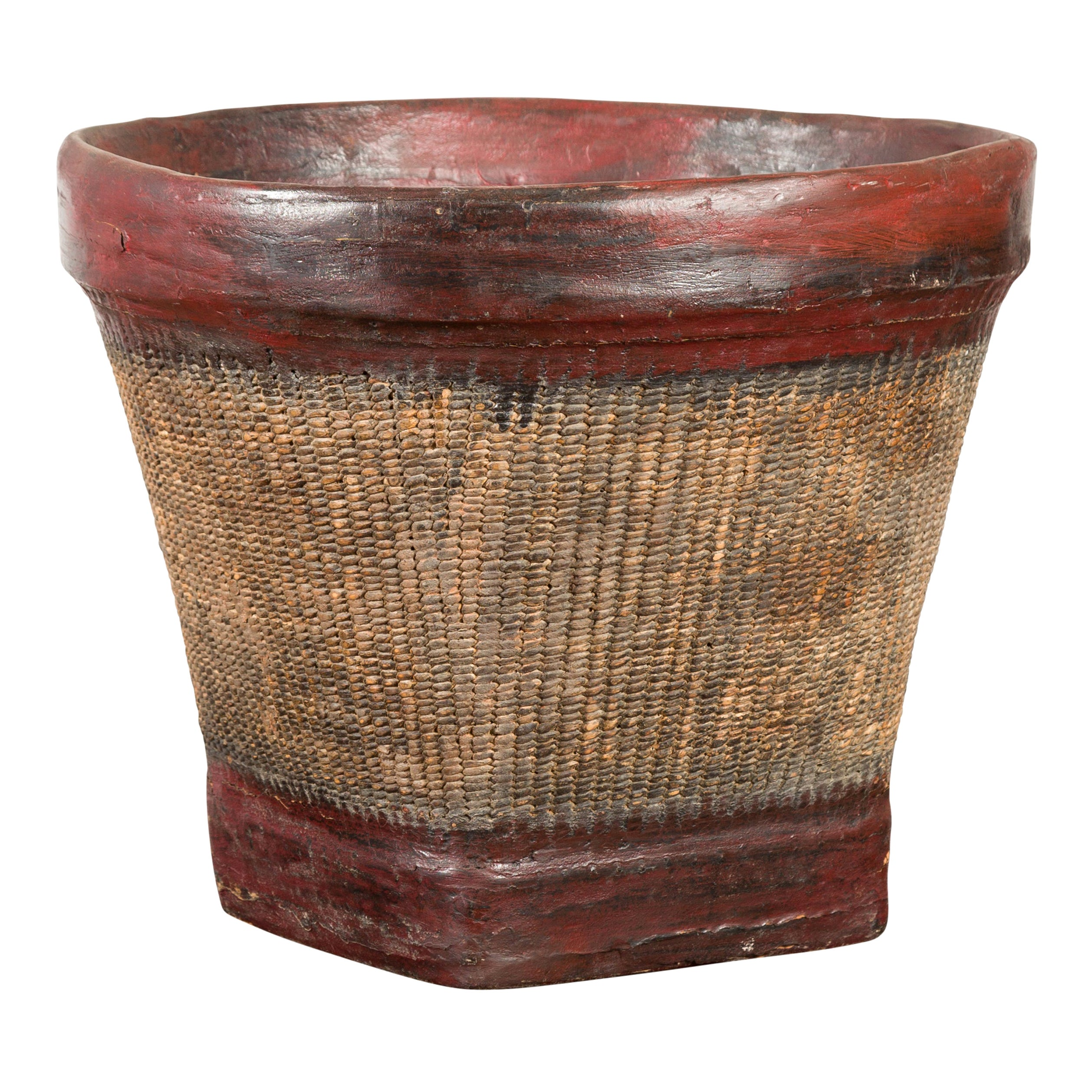 Thai 19th Century Rustic Hand-Woven Rattan Rice Basket with Red Rim