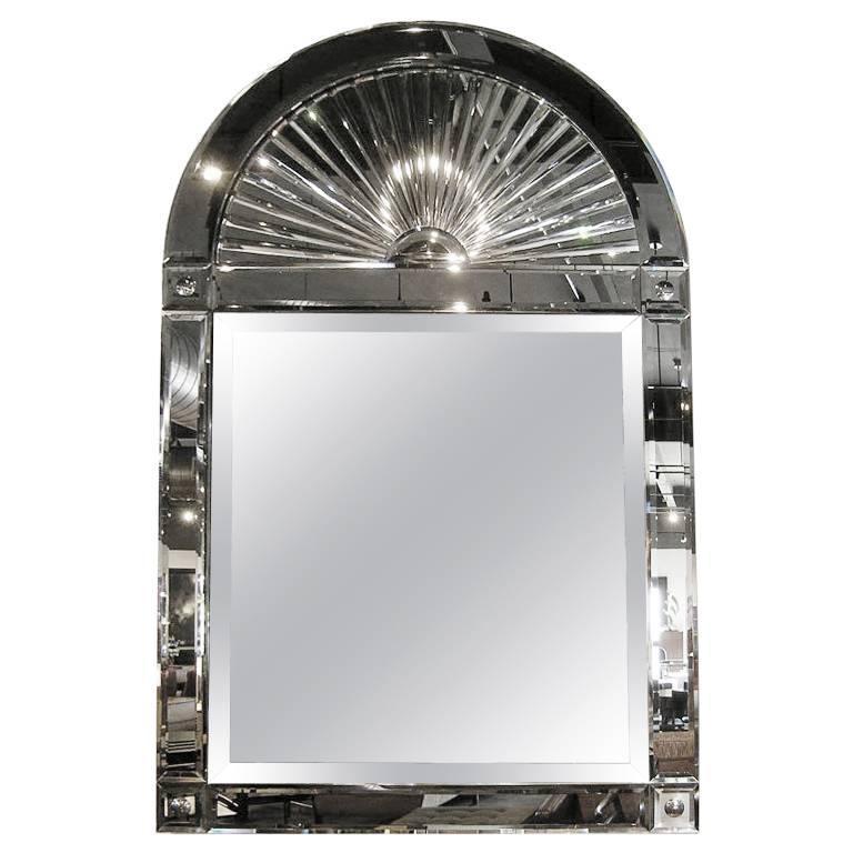 large beveled mirror with starburst arch by karl springer for sale at 1stdibs. Black Bedroom Furniture Sets. Home Design Ideas