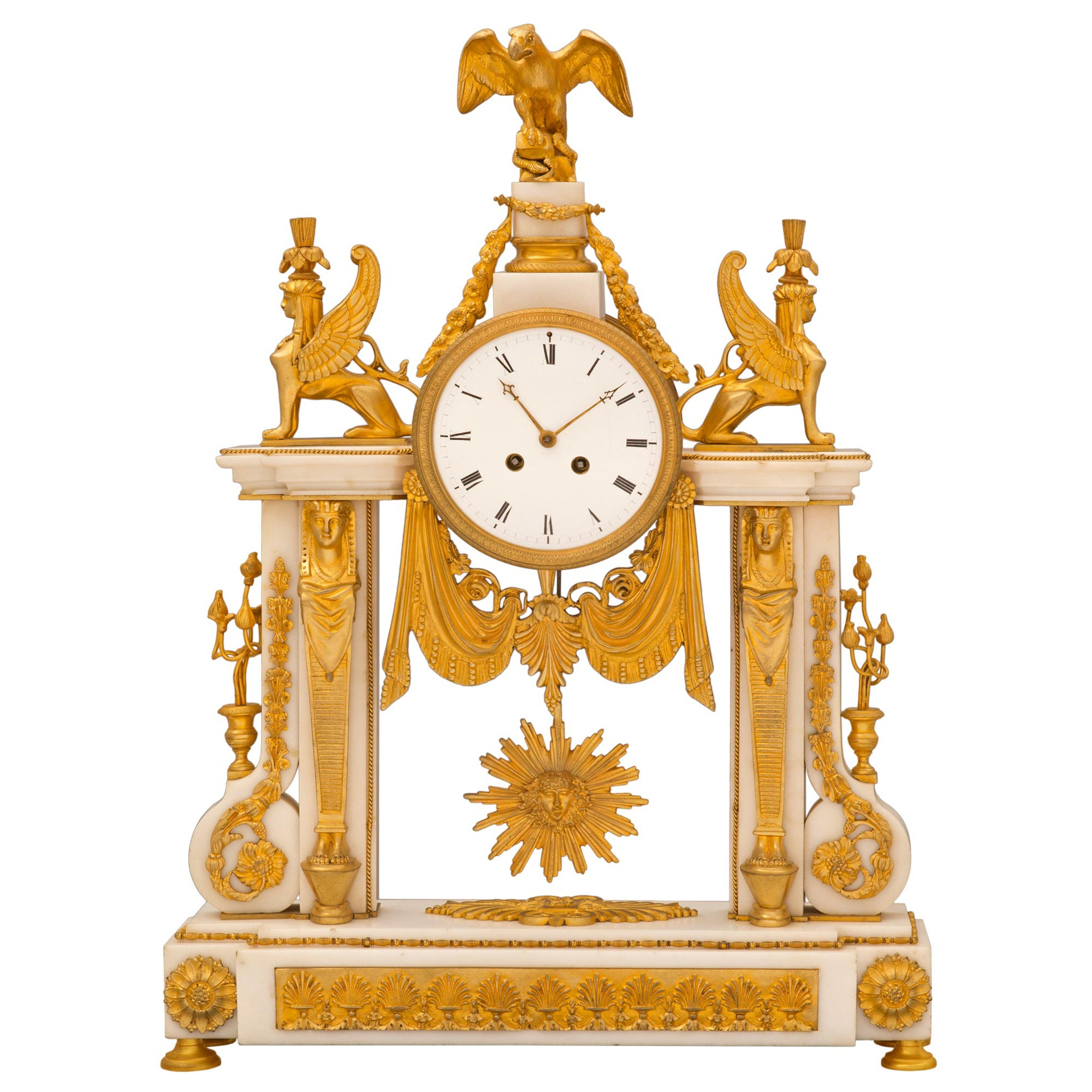 French 19th Century Neoclassical Style Ormolu and Marble Clock