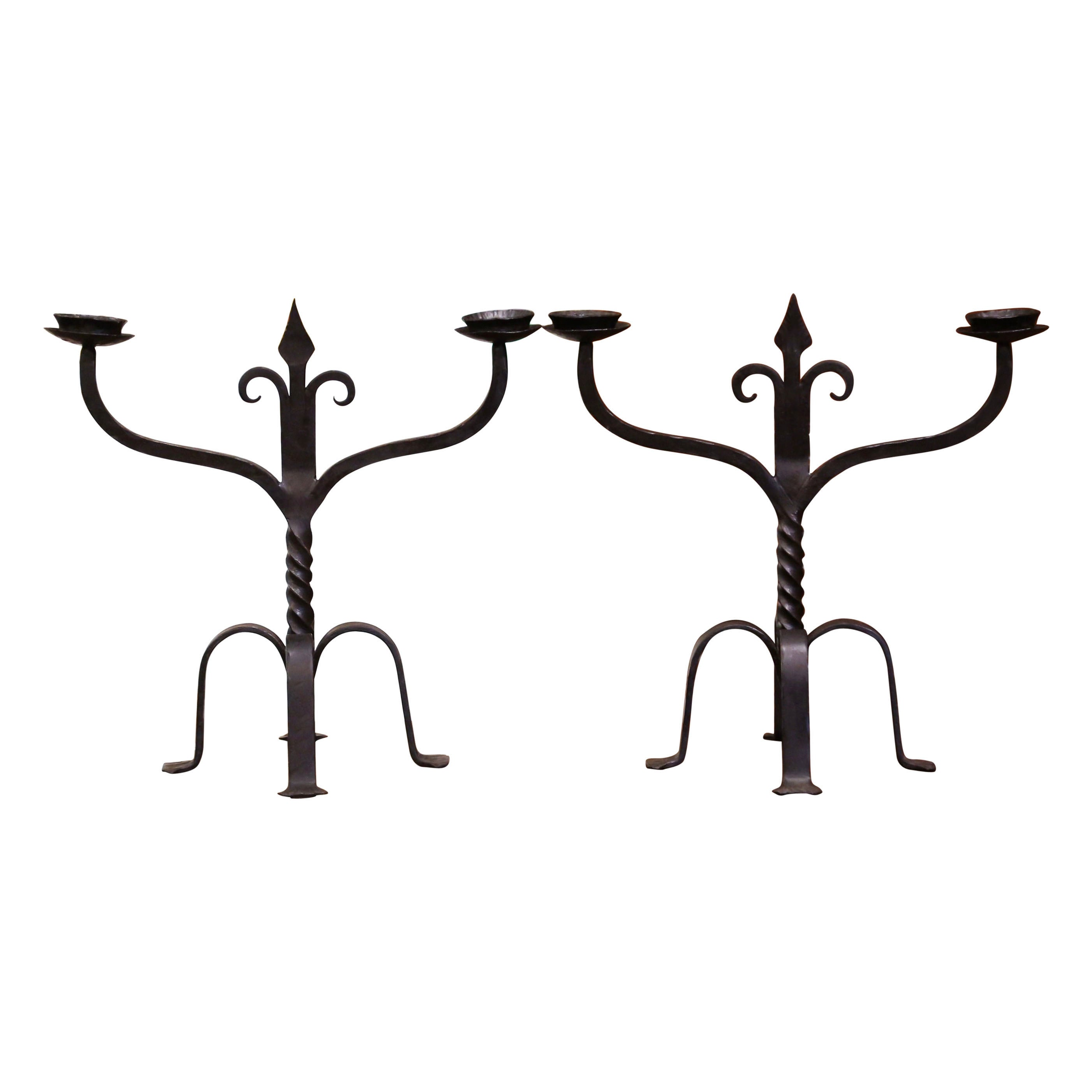 Pair of 19th Century French Gothic Revival Wrought Iron Two-Arm Candelabras