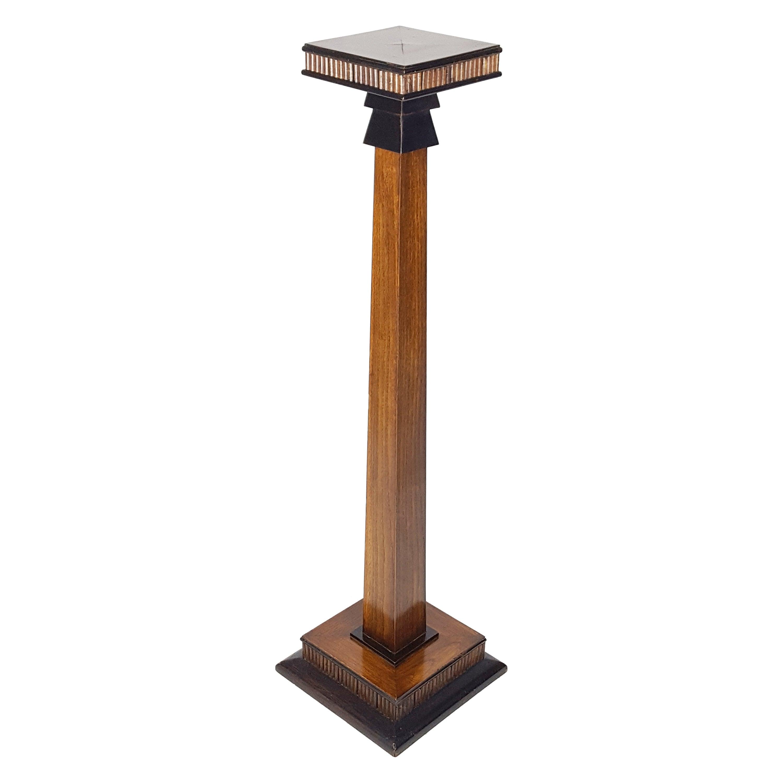 Italian Wooden 1930s Deco Pedestal or Sculpture Support