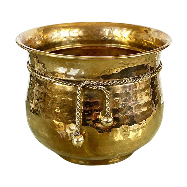 Hollywood Regency Trompe L'Oeil Brass Planter with Faux Ribbon