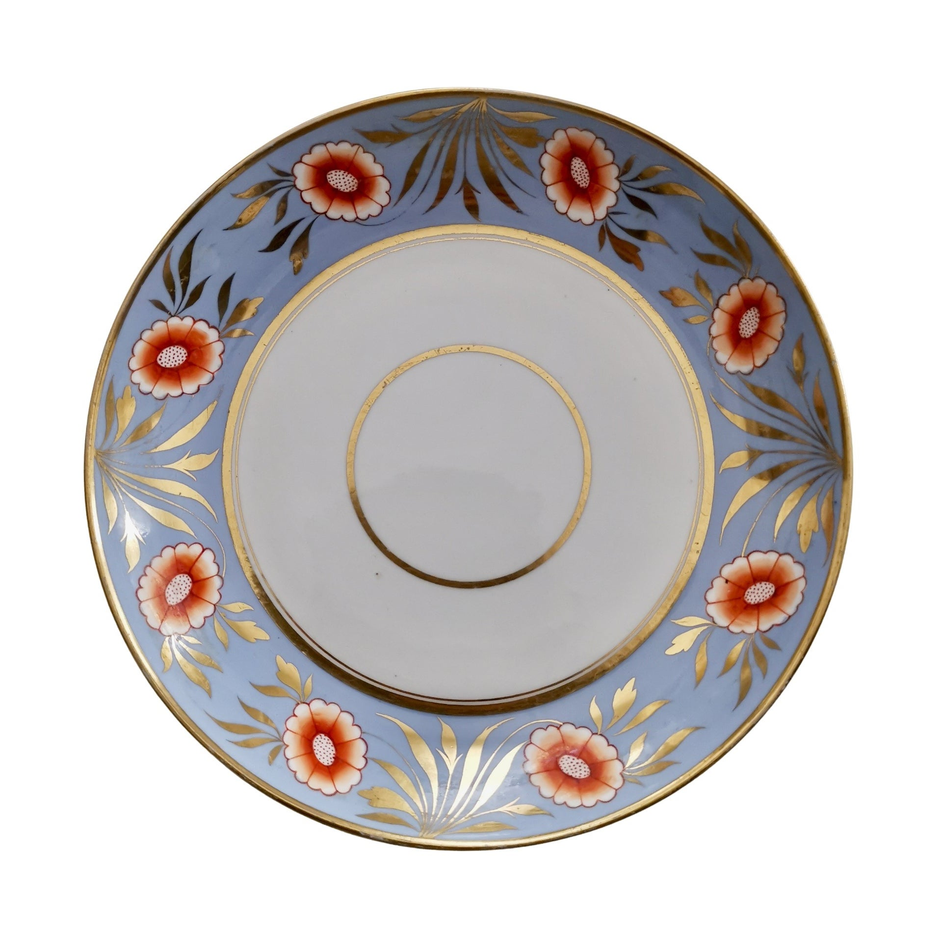 Spode Deep Porcelain Plate, Periwinkle Blue with Orange Flowers, ca 1815
