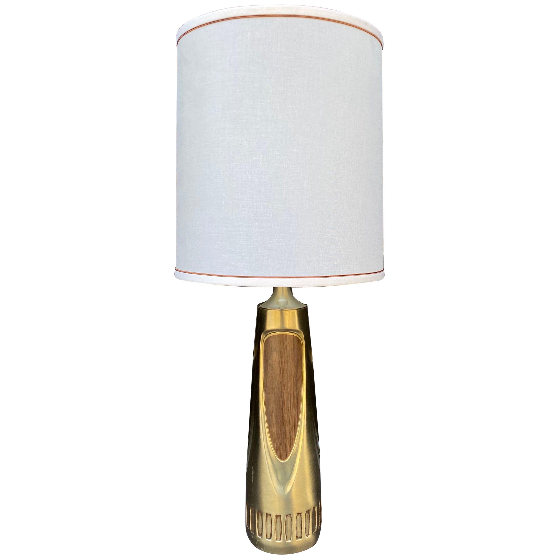Sculptural Mid-Century Modern Brushed Brass and Walnut Wood Veneer Lamp, Laurel