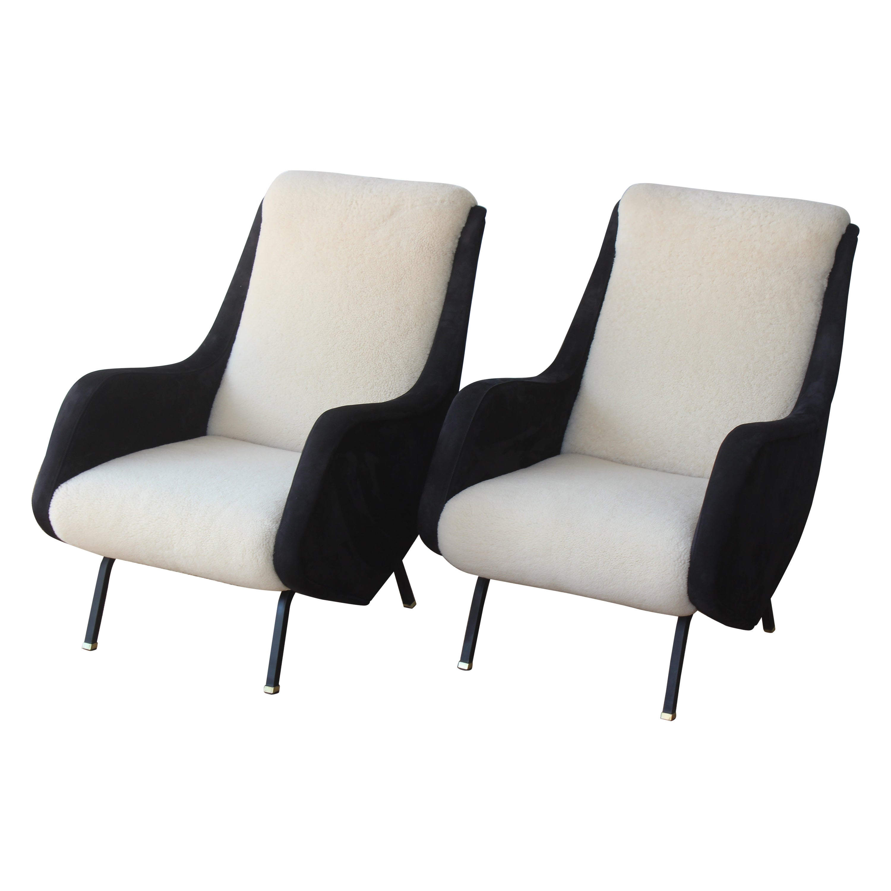 Pair of Lounge Chairs by Aldo Morbelli for ISA Bergamo, Italy, 1950s