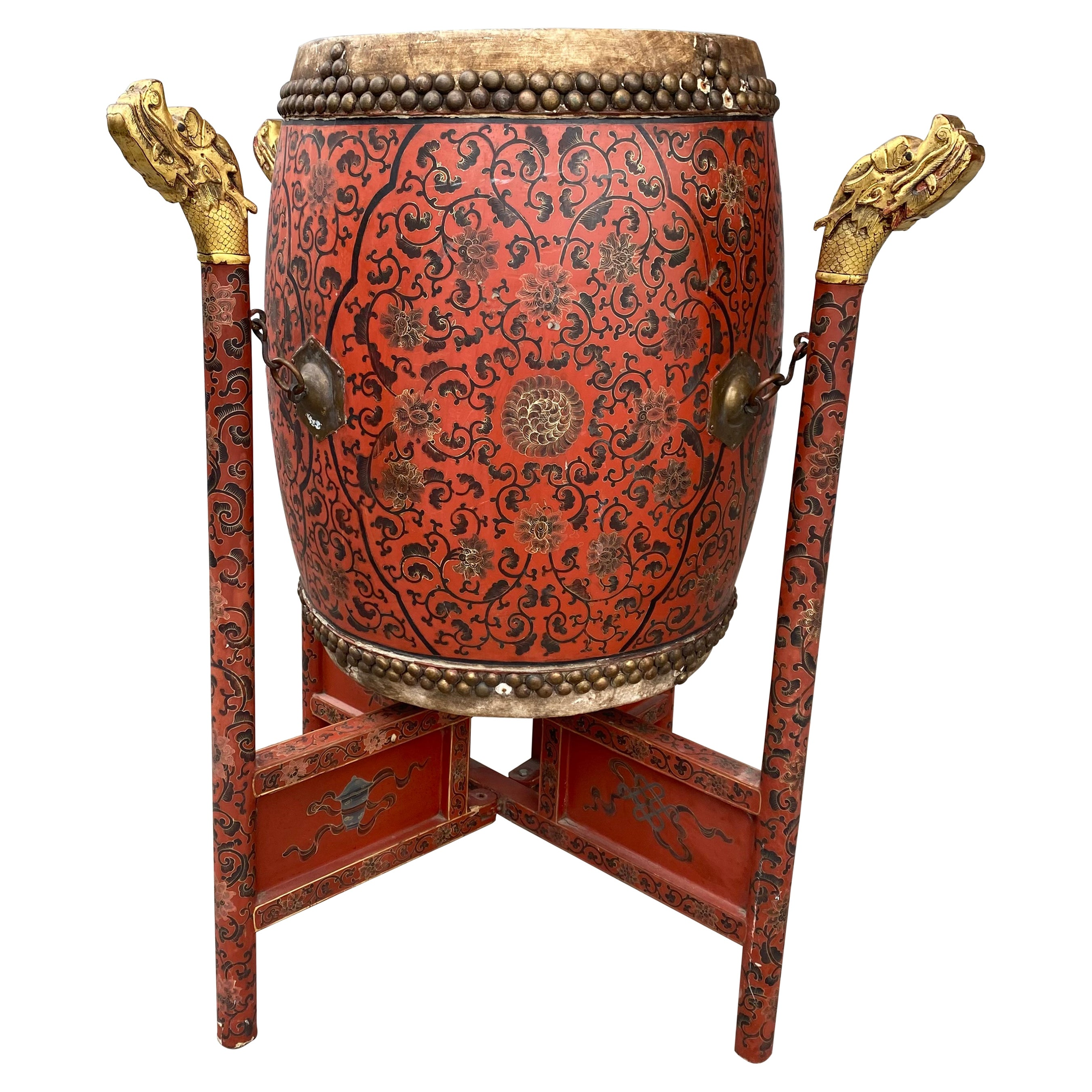 Large 19th Century Qing Dynasty Chinese Ceremonial Lacquered Drum, Dragon Stand
