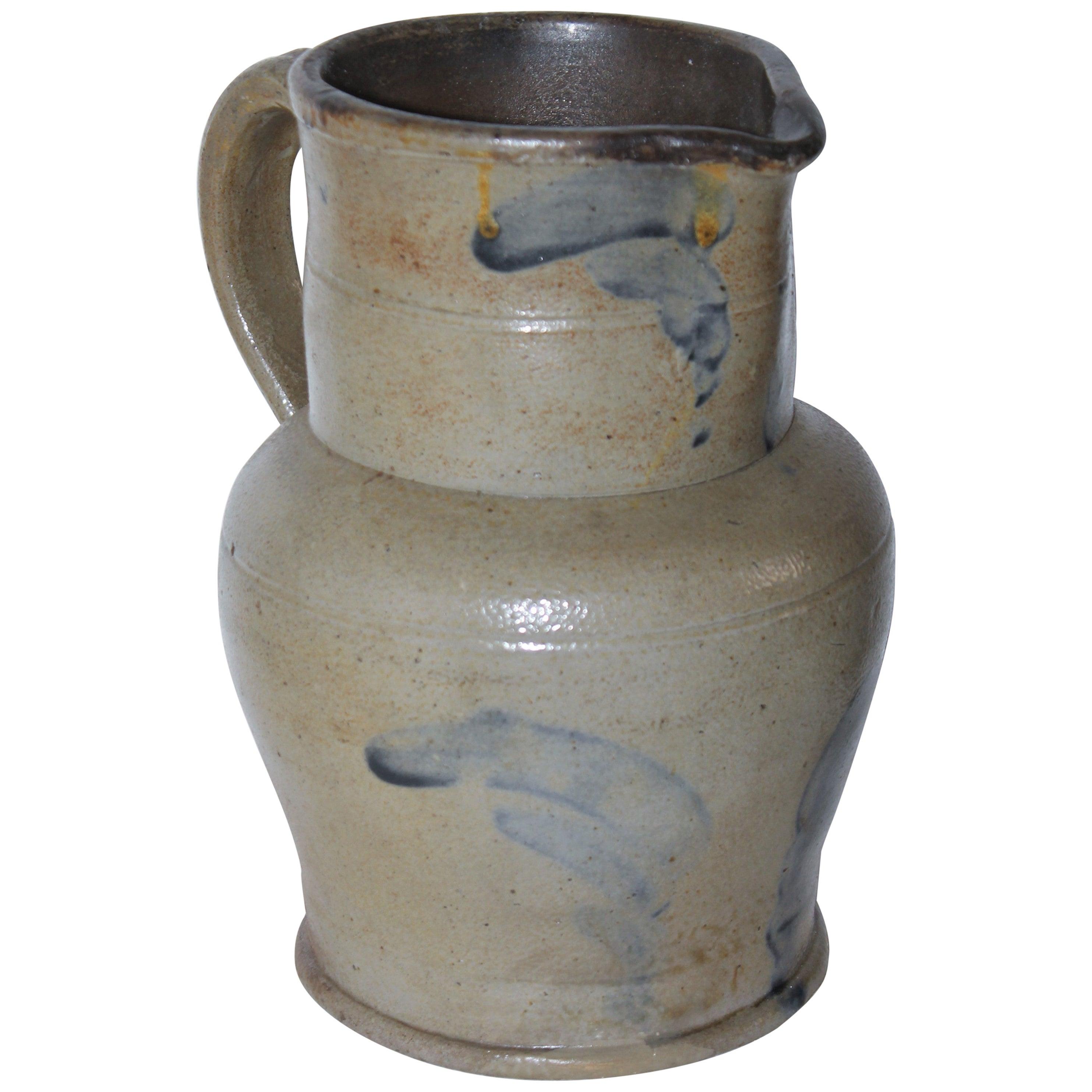 19thc Rare Small Decorated Stoneware Pitcher