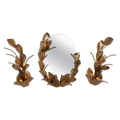 1970's Hollywood Regency Brass Mirror & Two Wall Features by Maison Jansen