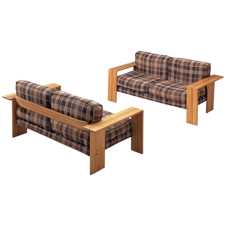Afra & Tobia Scarpa 'Artona' Sofa in Walnut and Checked Fabric