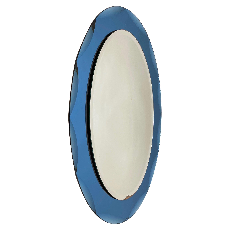 Midcentury Cristal Arte Italian Oval Mirror with Graven Blue Frame, 1960s