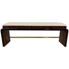 Italian Art Deco Walnut and Macassar Bench, 1940s