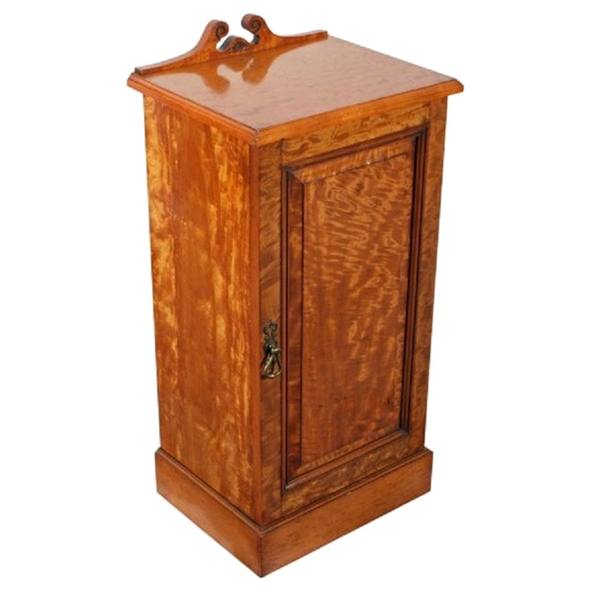 Victorian Satinwood Bedside Cabinet, 19th Century