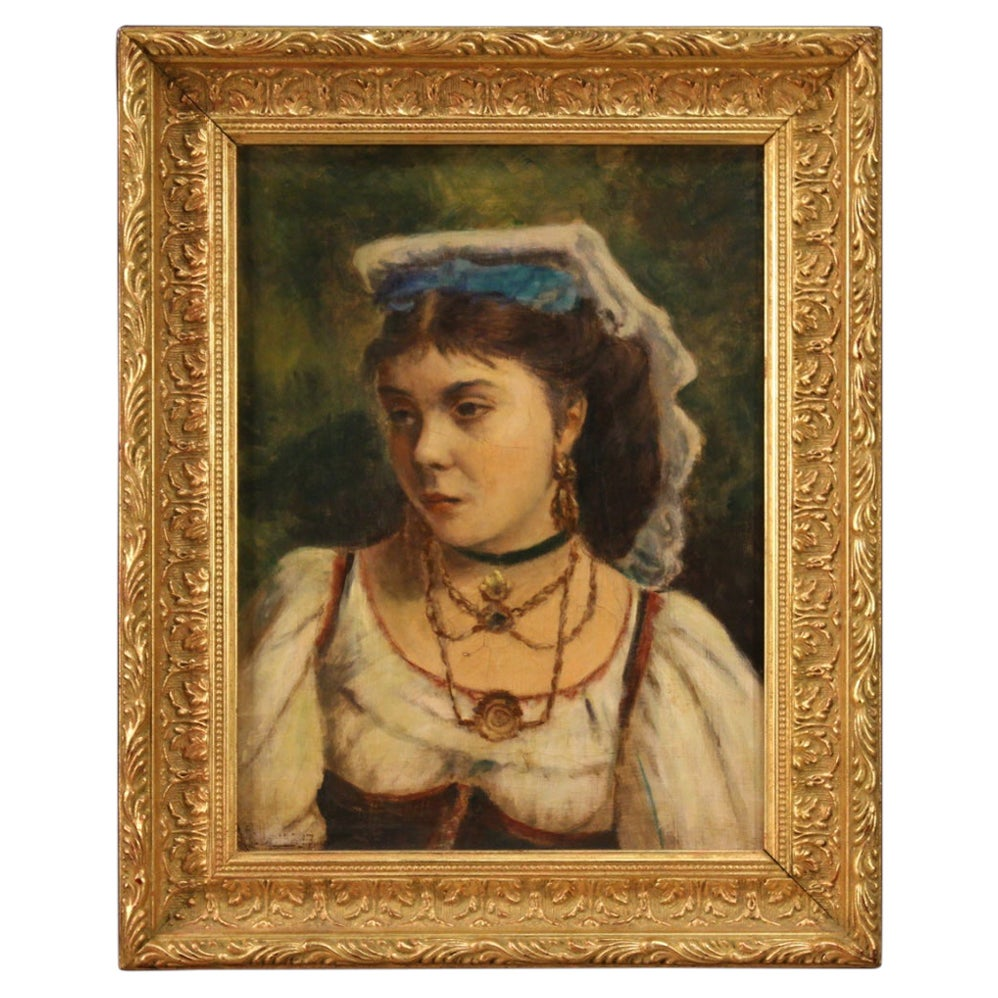 20th Century Oil on Canvas Italian Painting Portrait of a Neapolitan Girl, 1920