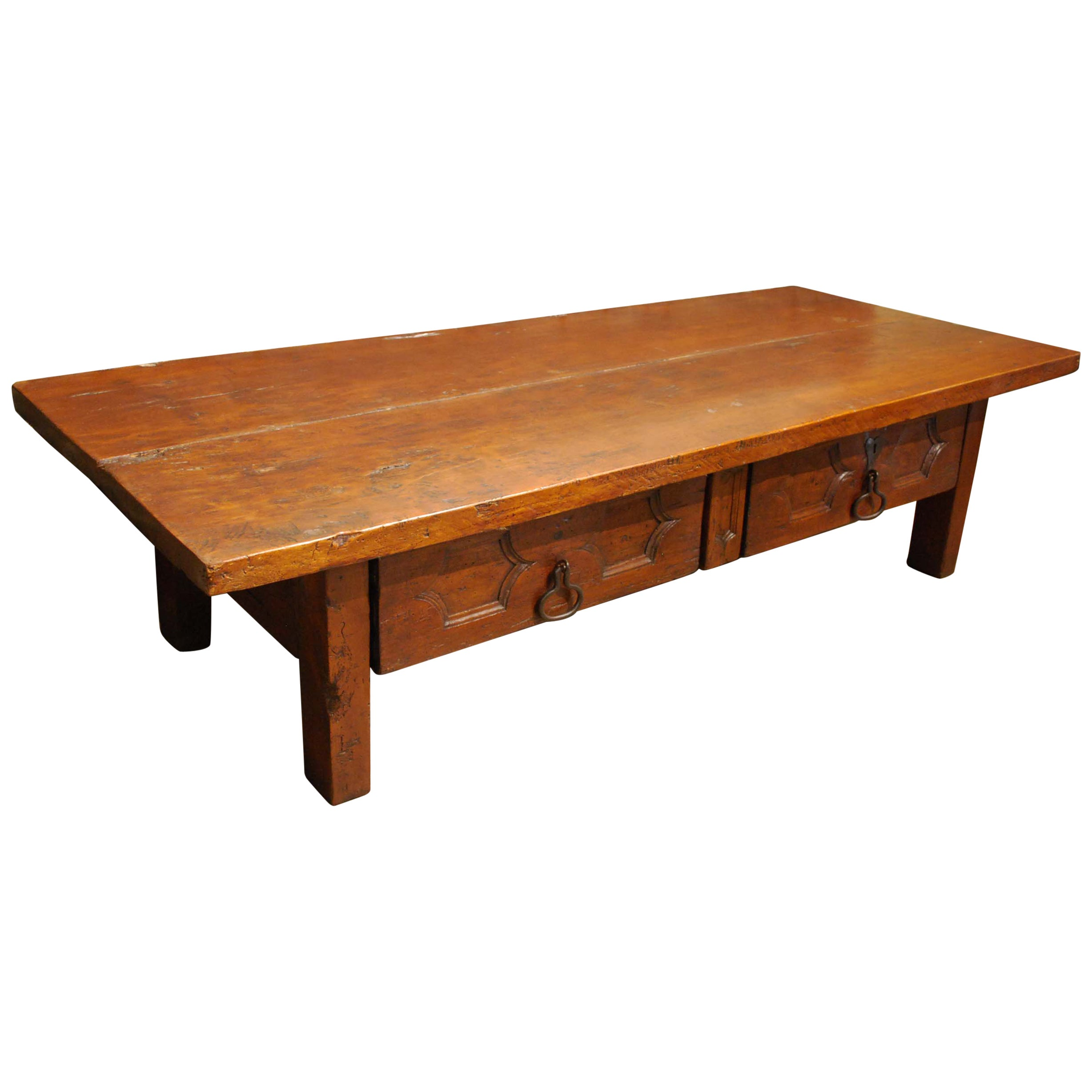Antique 18th-Century Spanish Honey Color Chestnut Coffee Table or Low Table