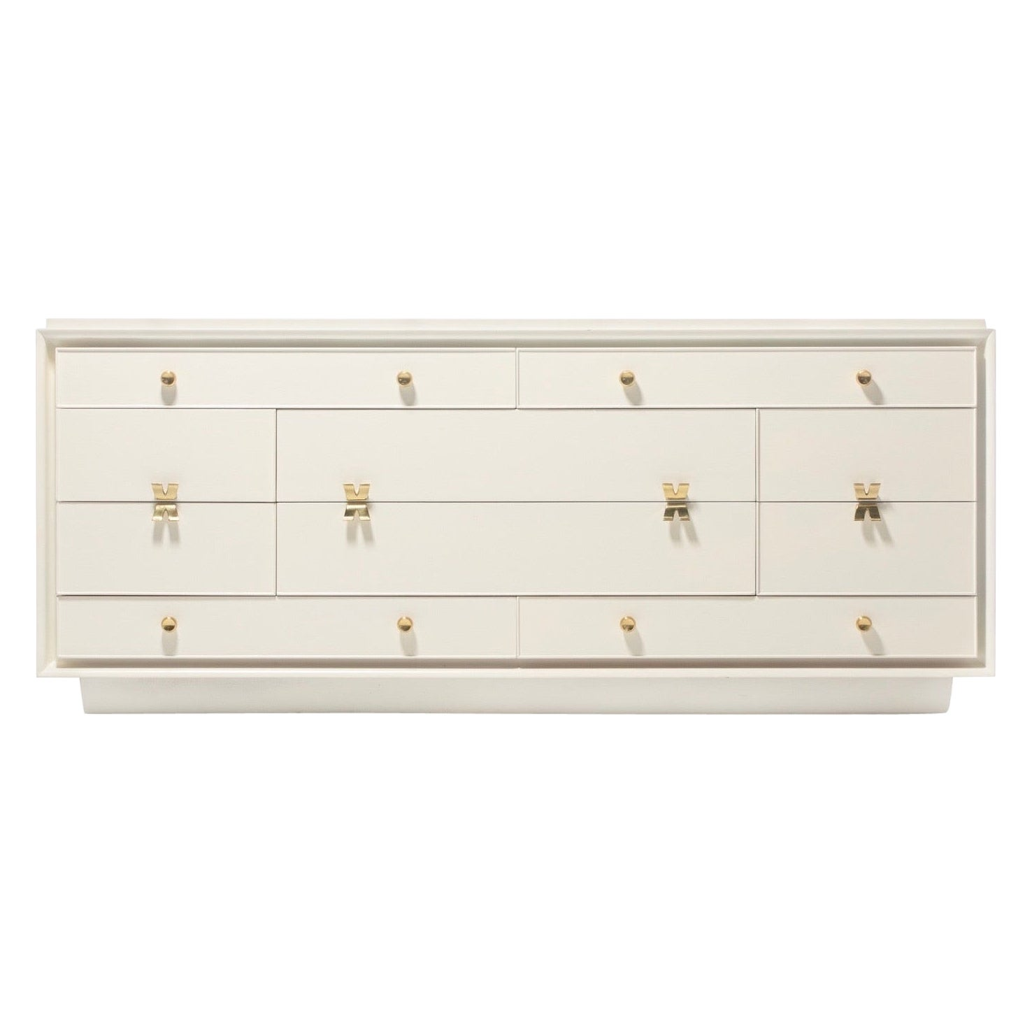 Early Paul Frankl X Brass Pull Dresser for Johnson Furniture in White Chocolate