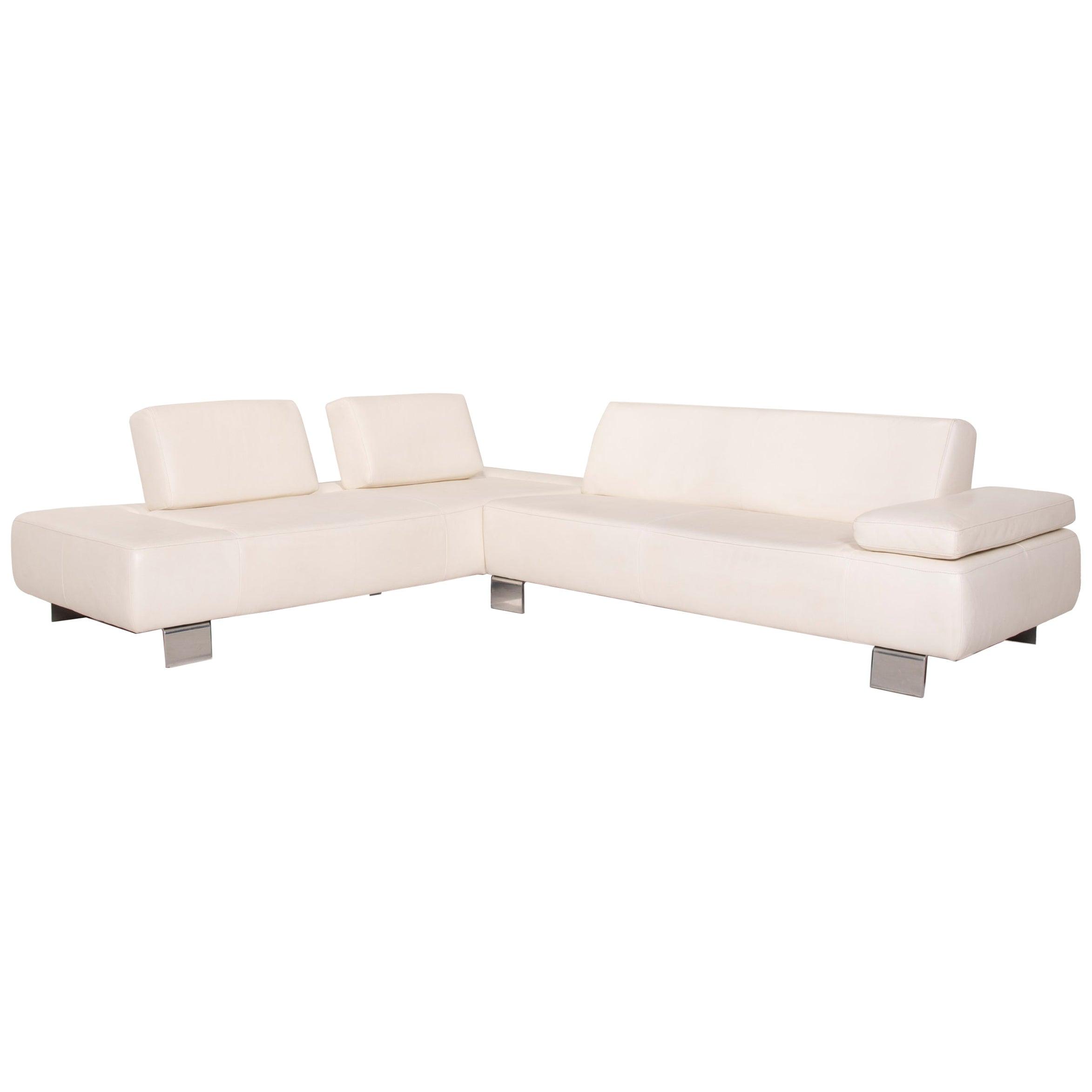 Willi Schillig Leather Sofa Cream Corner Sofa