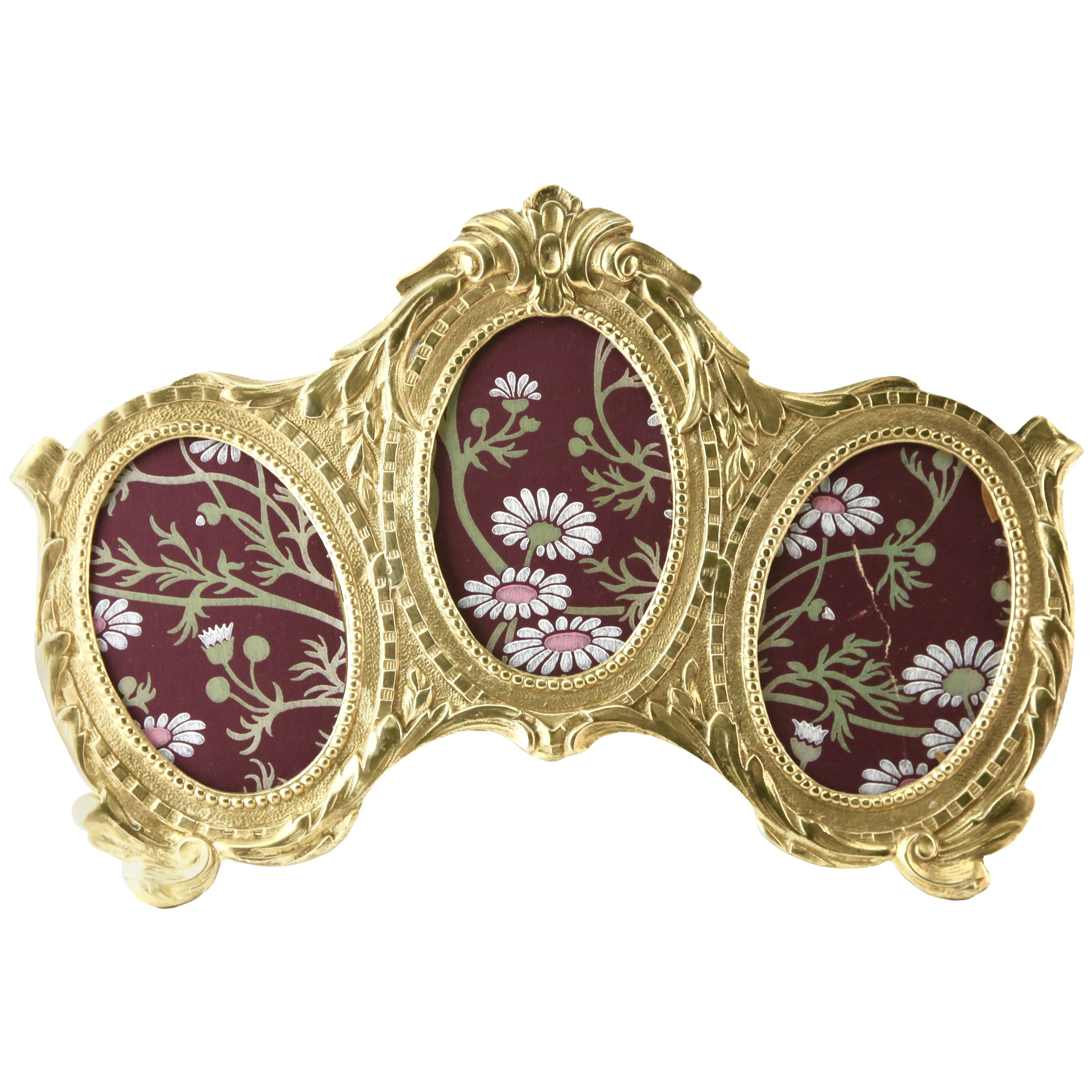 'Lover's Knot' Triple Picture Frame, Polished Brass, Made by J.H. France, 1900s