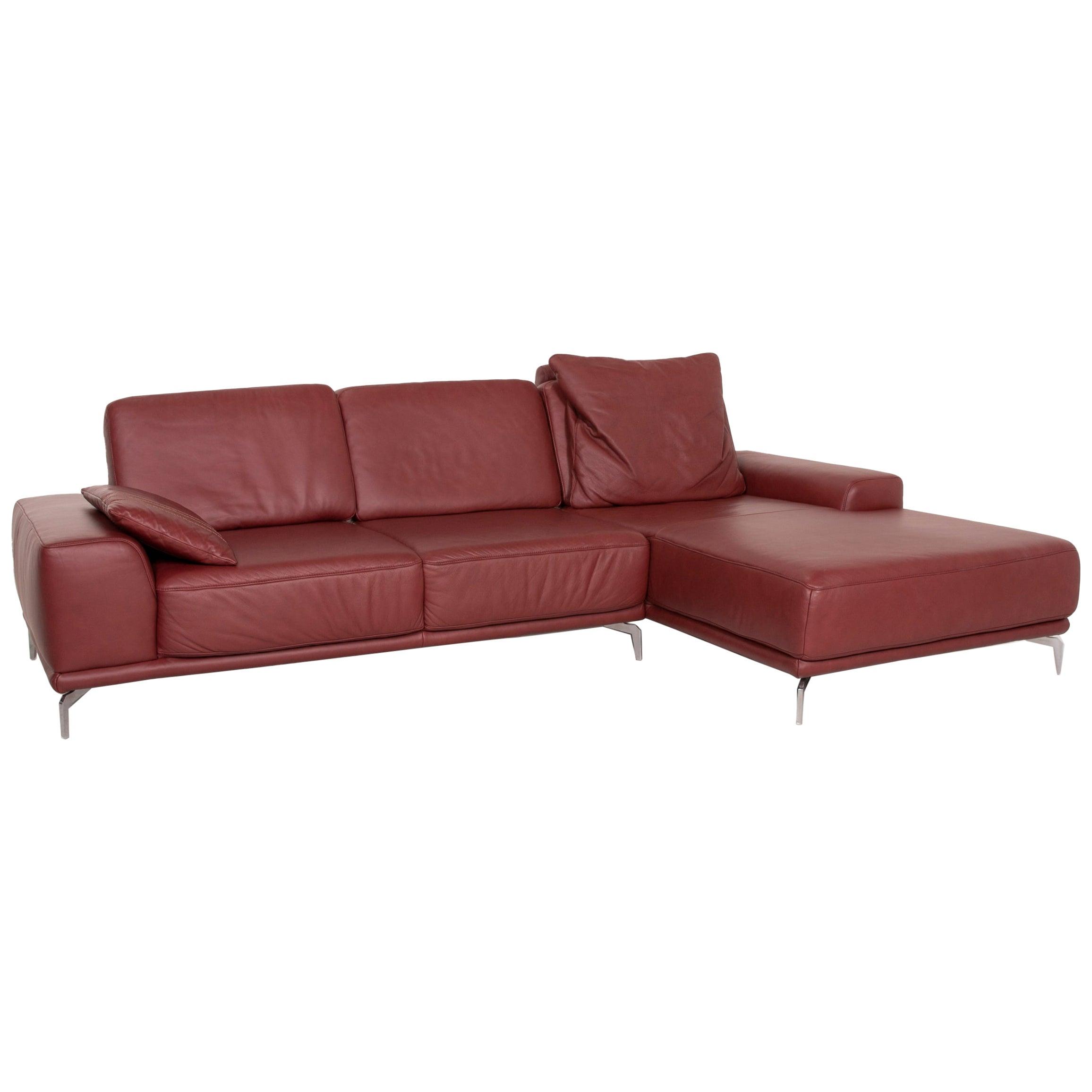 Willi Schillig Sixty SiXx Leather Sofa Red Corner Sofa