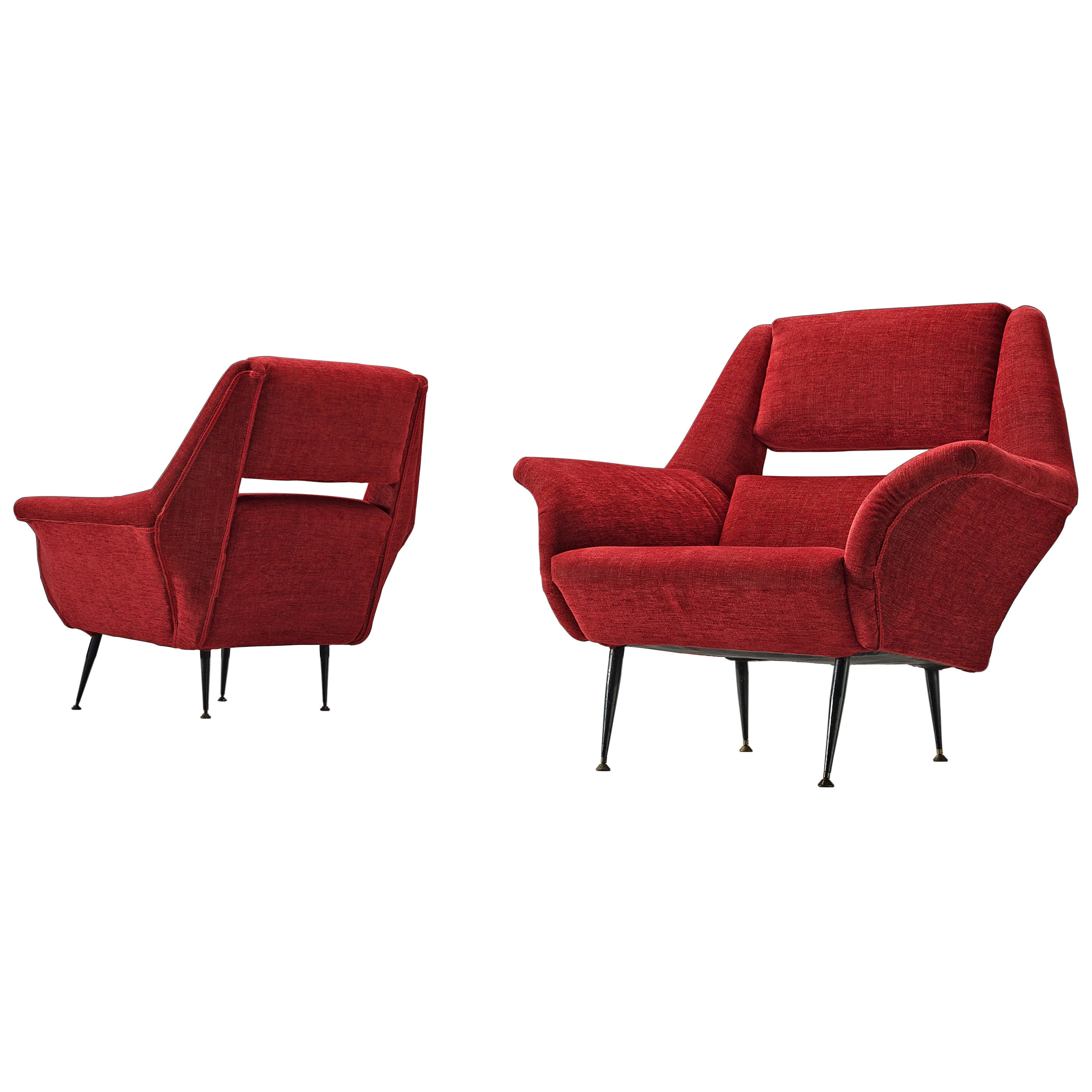 Elegant Italian Lounge Chairs in Red Upholstery