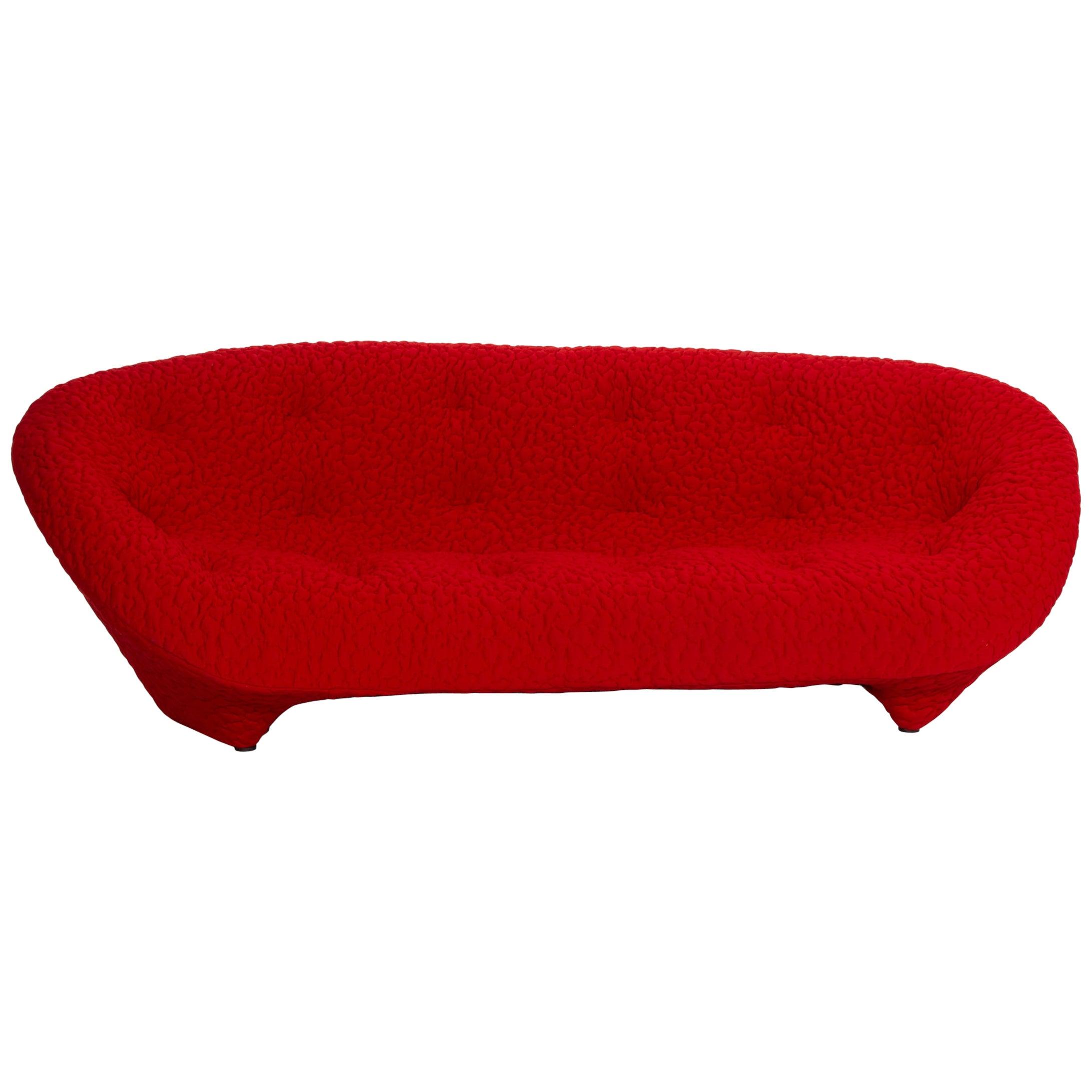Ligne Roset Ploum Fabric Sofa Red Three-Seater