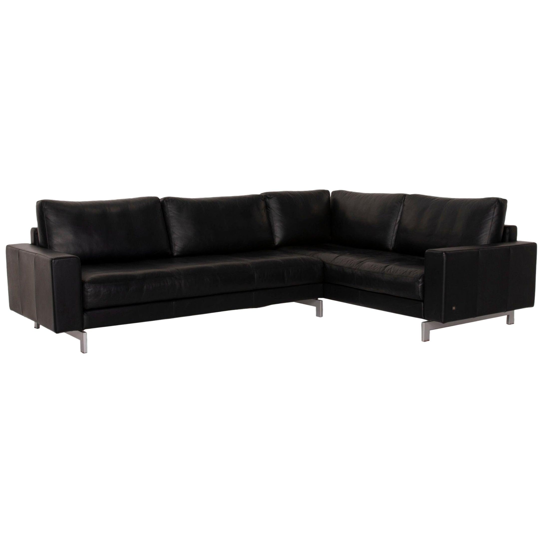 Rolf Benz Vida Leather Sofa Black Corner Sofa