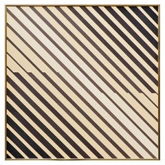 "Georges Vaxelaire, Oil on Canvas ""Composition Aux Rayures"", 1976"