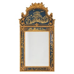 Regence Style Mirror in Gilt Wood and Blue Lacquer, 1980's
