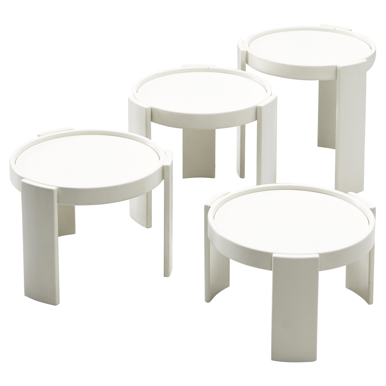 Gianfranco Frattini Set of White '780' Nesting Tables