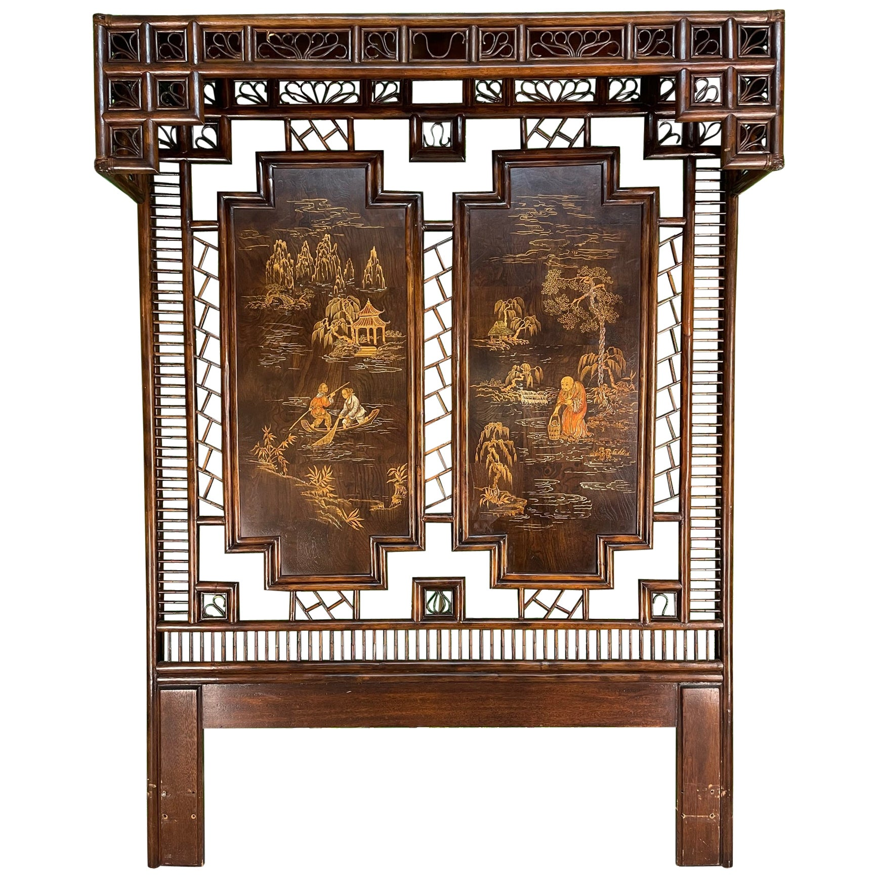 Asian Chinoiserie Rattan Canopy Queen Size Headboard by Henredon