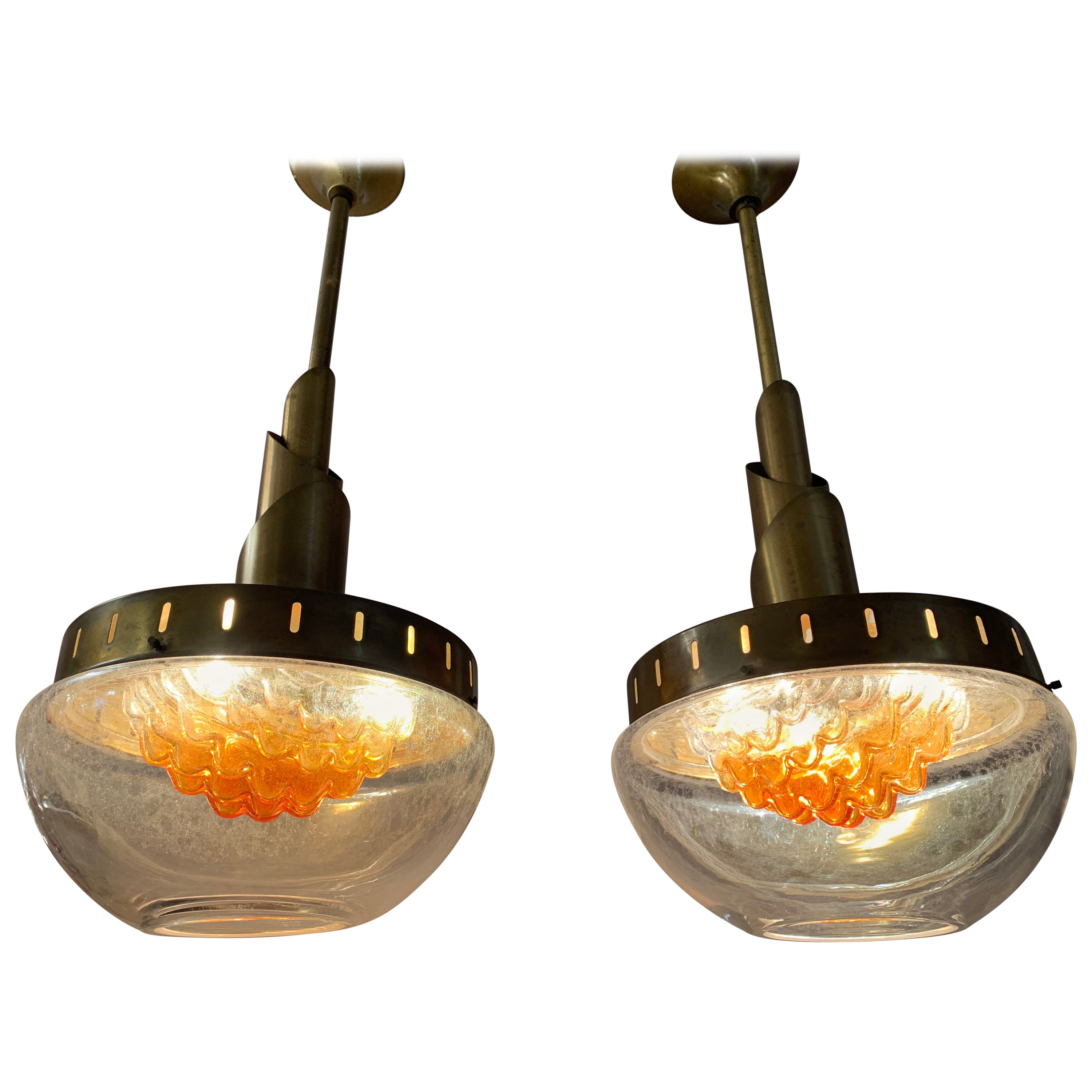 Pair of Vintage 1960s Mazzega Murano Glass Hanging Pendant Lights by Carlo Nason