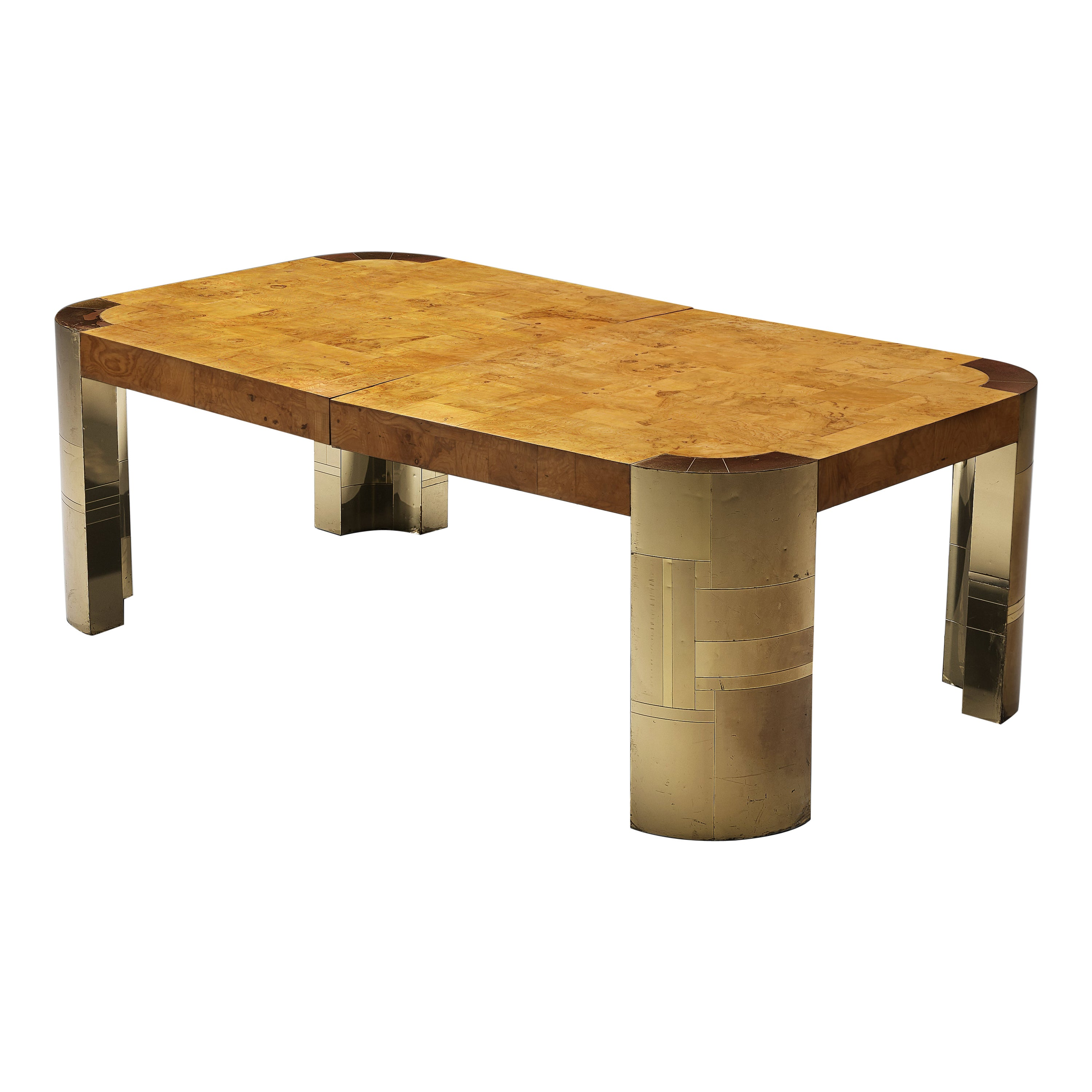 Paul Evans Conference Table in Brass and Wood Burl