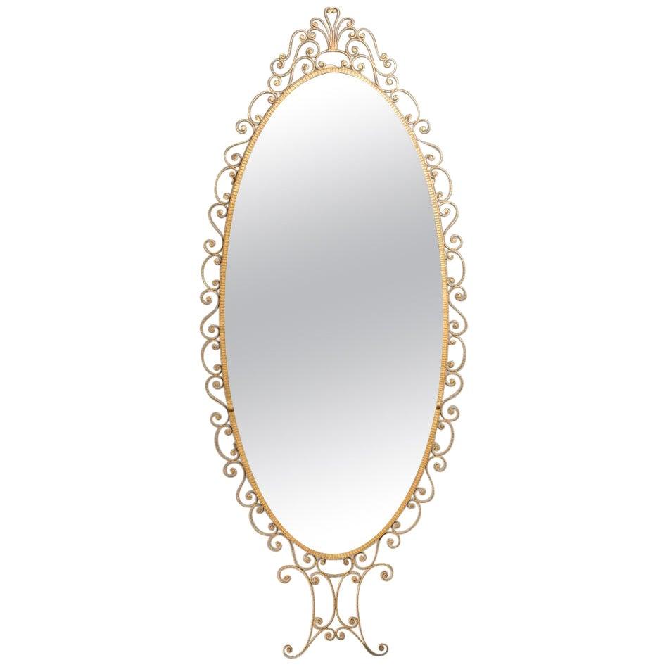 Italian Midcentury Pier Luigi Colli Golden Wrought Iron Oval Mirror