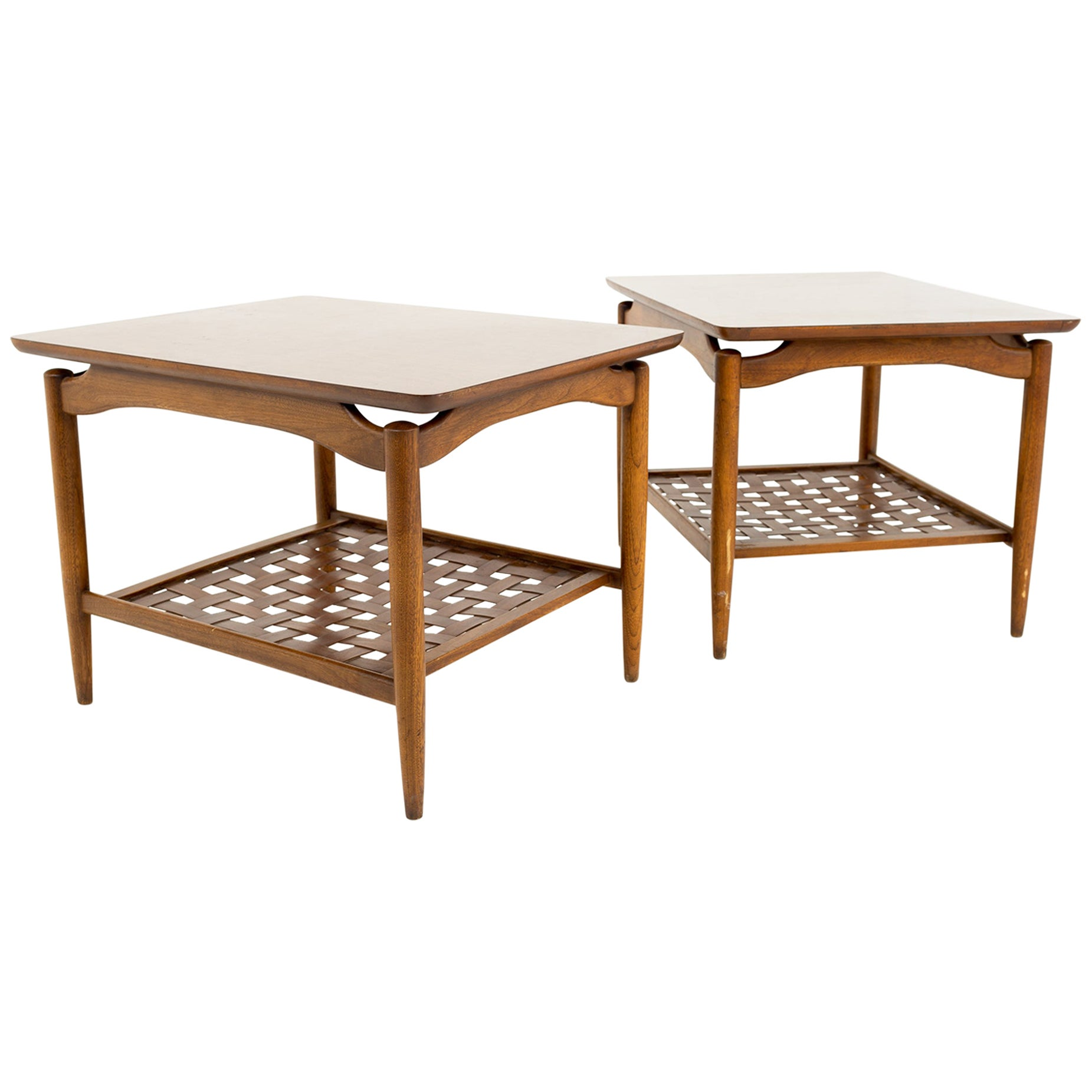 Greta Magnusson Grossman Style MCM Walnut and Formica Top Side End Tables, Pair