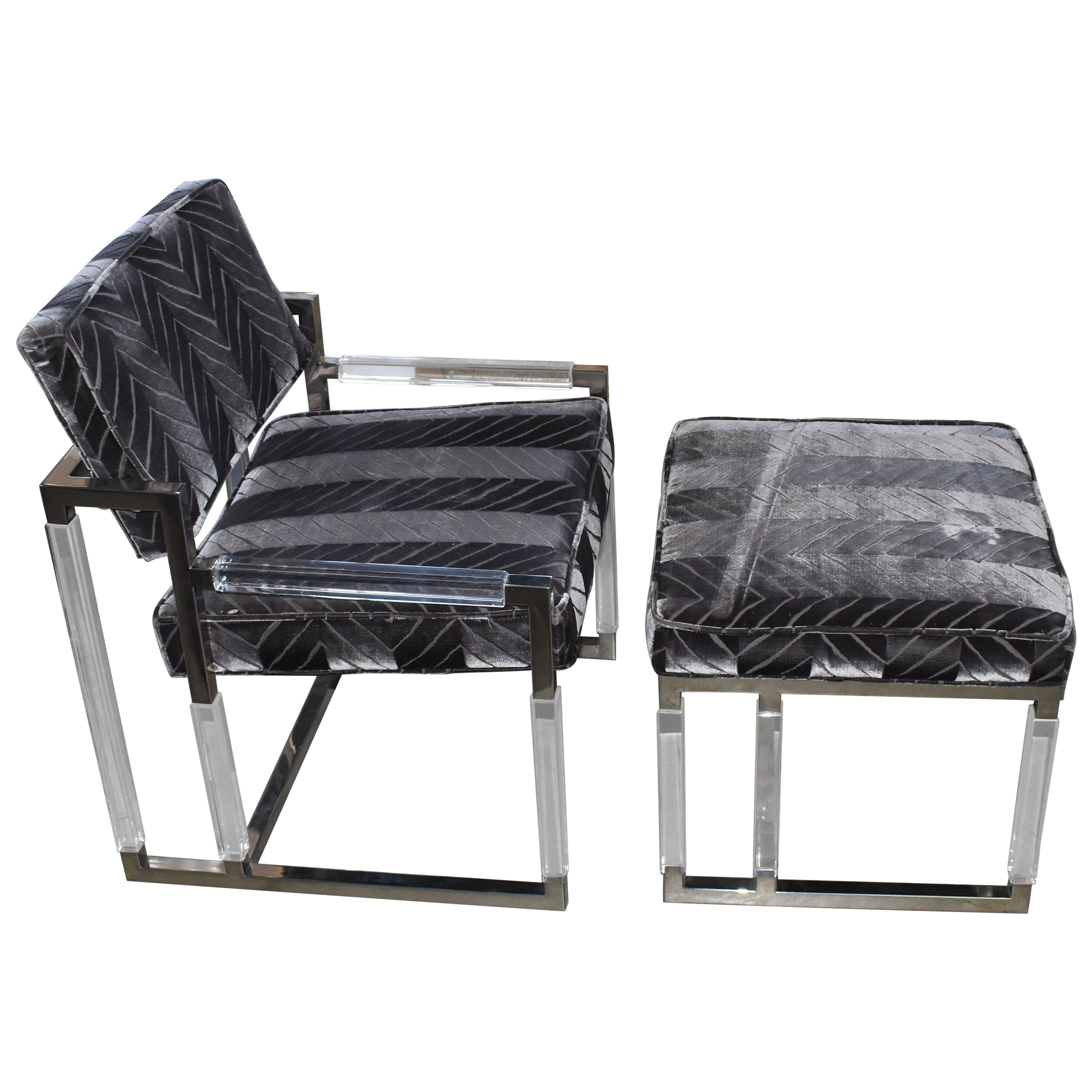 1965 Metric Lounge Chair and Ottoman Signed by Charles Hollis Jones