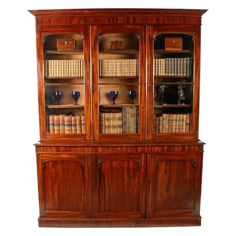 Victorian Mahogany Three Door Bookcase, 19th Century