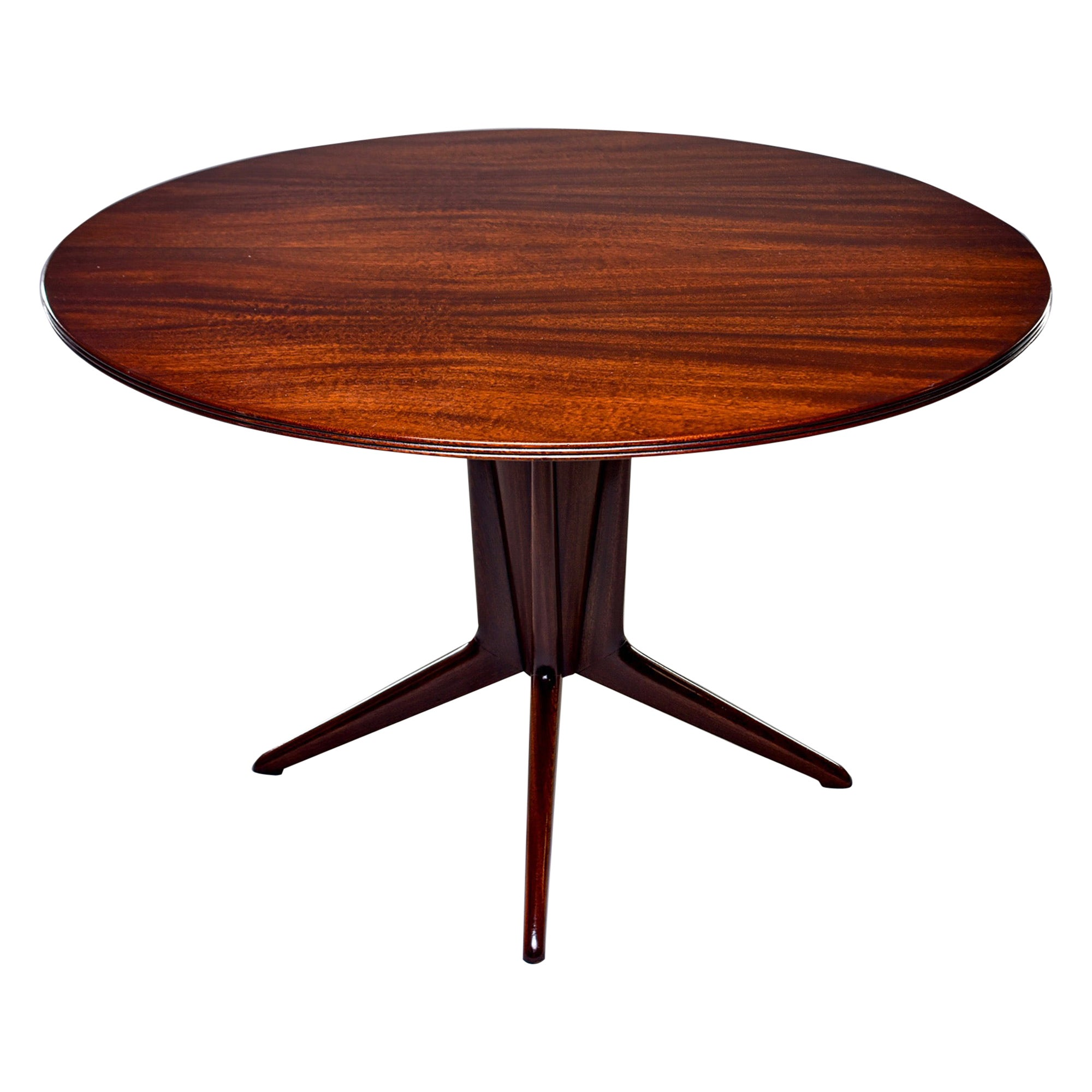 Italian Round Walnut Mid Century Table