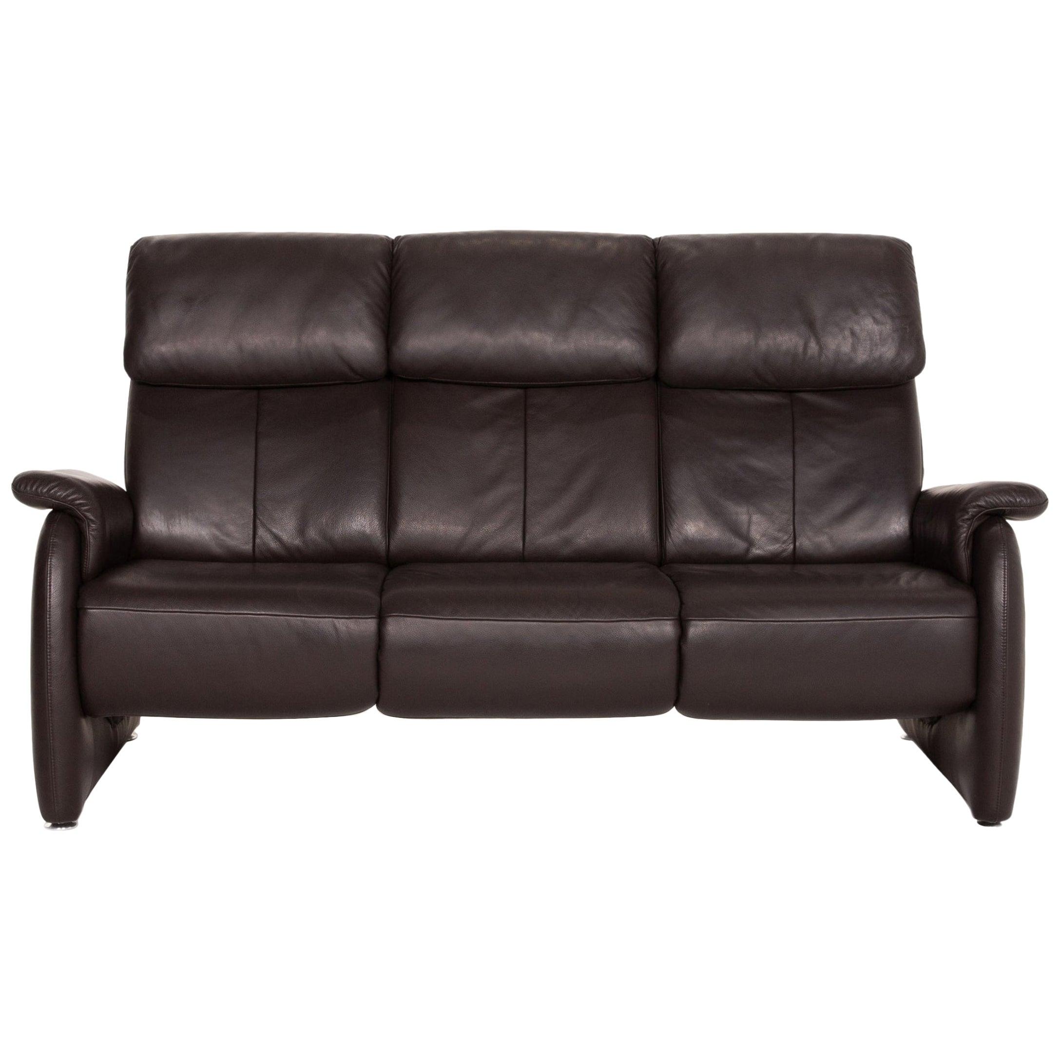 Willi Schillig Leather Sofa Brown Dark Brown Three-Seater Couch