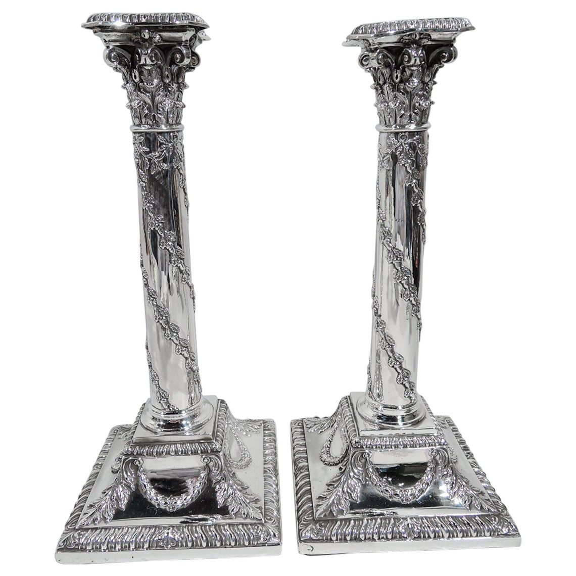 Pair of Antique Victorian Regency Sterling Silver Candlesticks