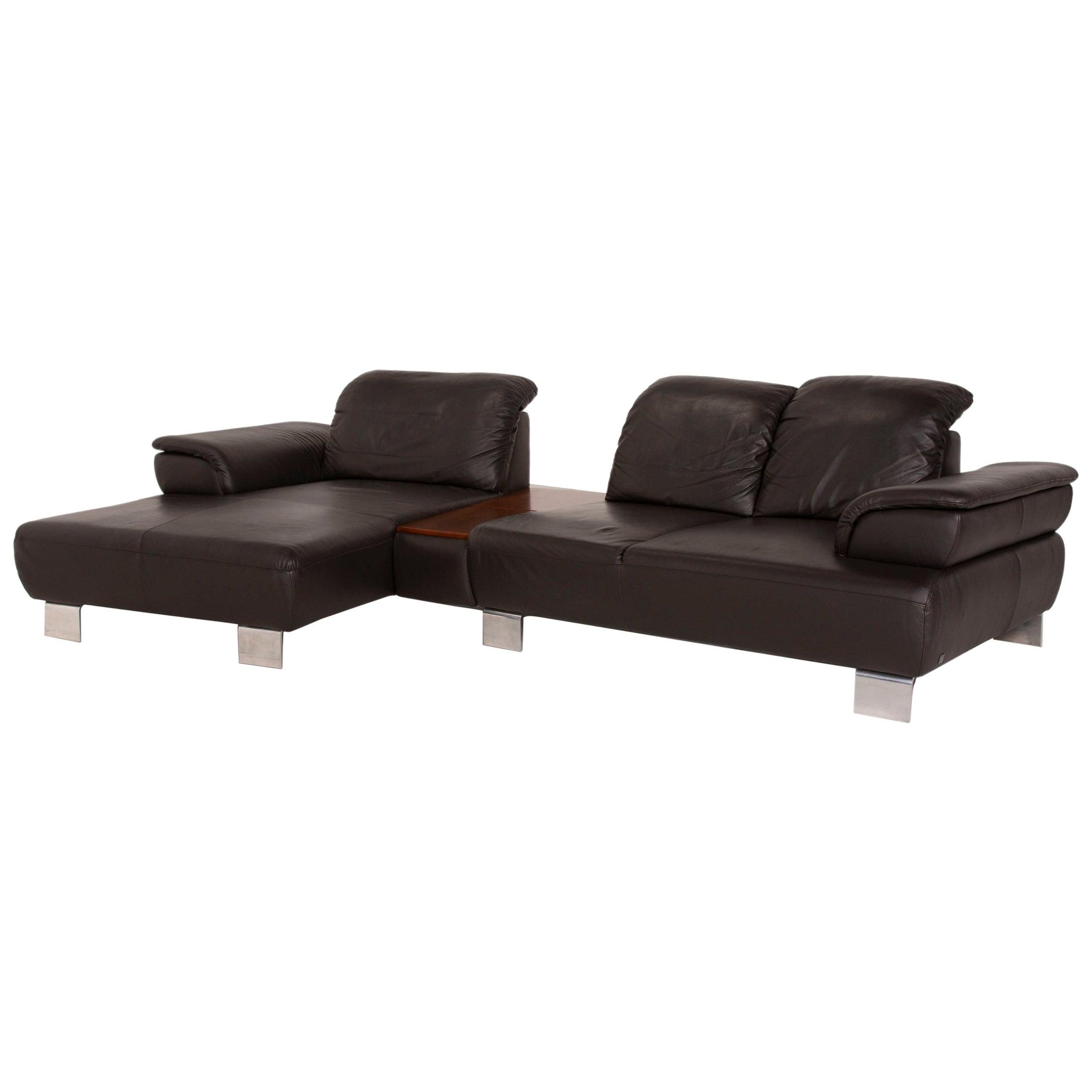 Willi Schillig Leather Sofa Brown Corner Sofa Function Dark Brown