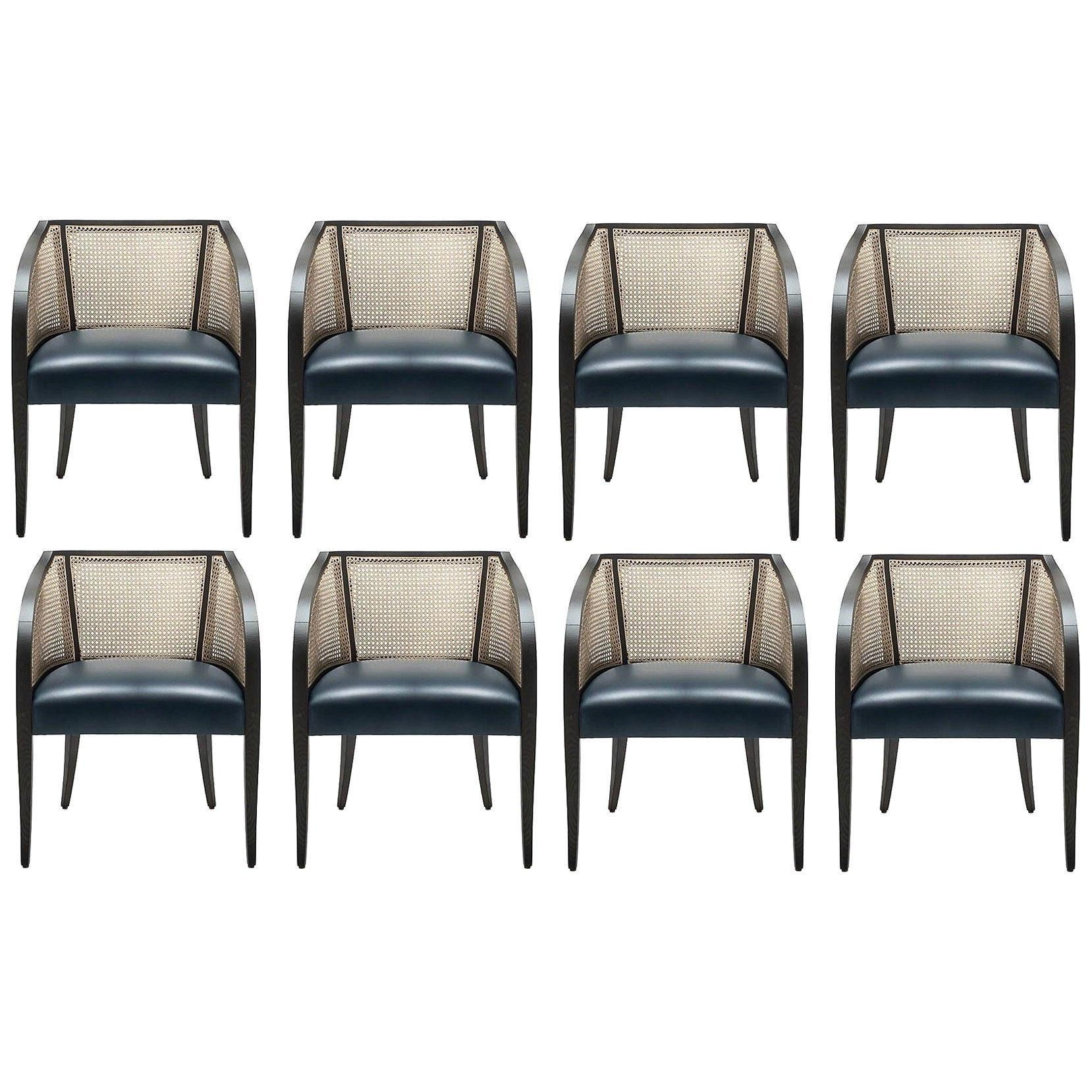 Contemporary Woven Cane Dining Chairs, Set of 8