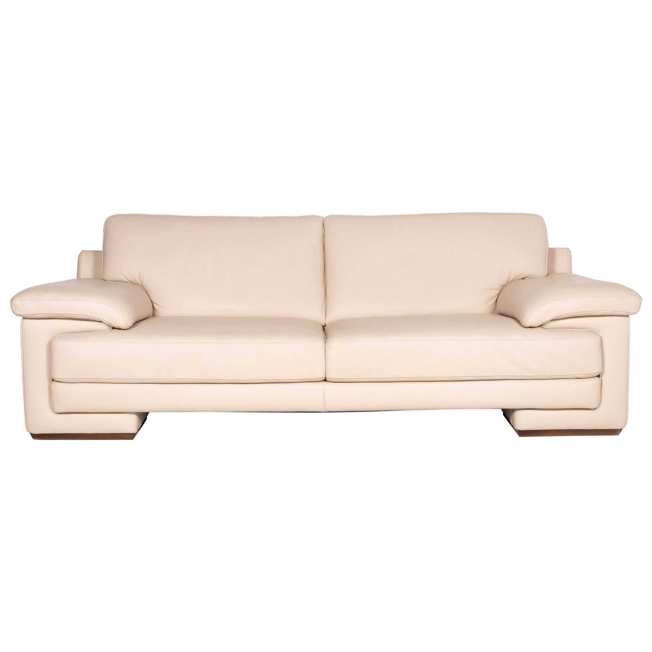 Natuzzi 2198 Leather Sofa Cream Three-Seater Couch