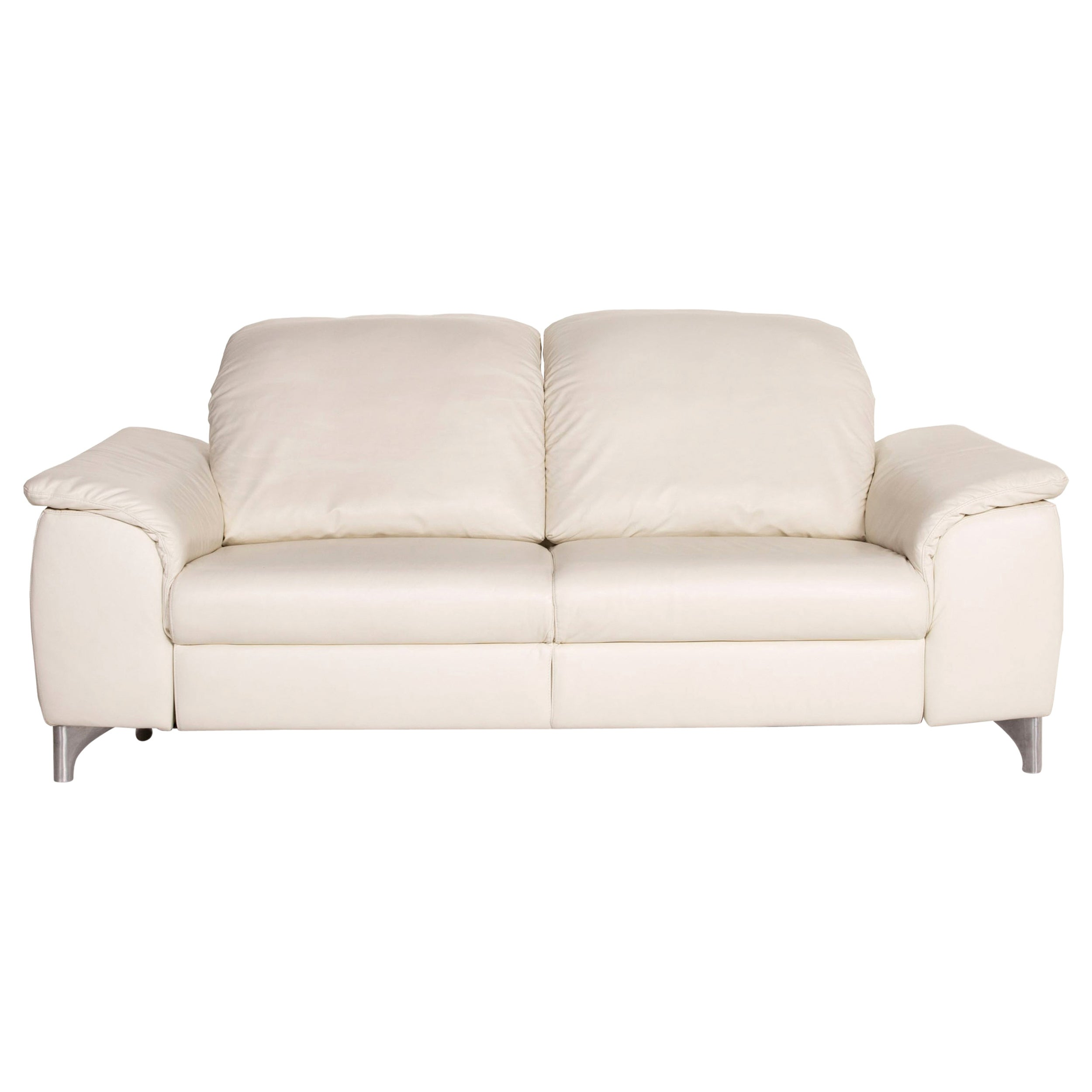 Willi Schillig Sinaatra Leather Sofa White Two-Seater Function Couch