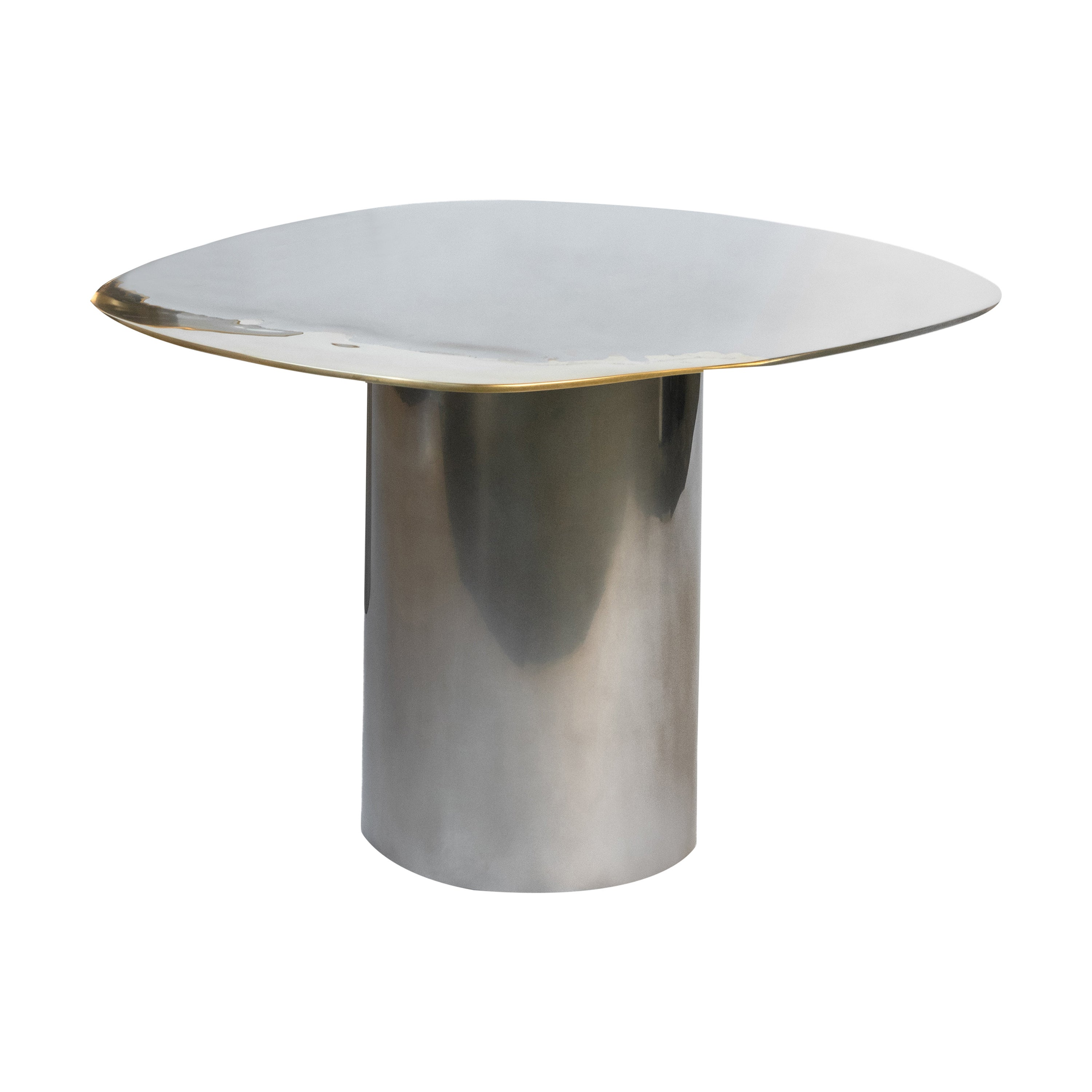 Polished Bimetal Two-Tone Brass Stainless Steel Side Table