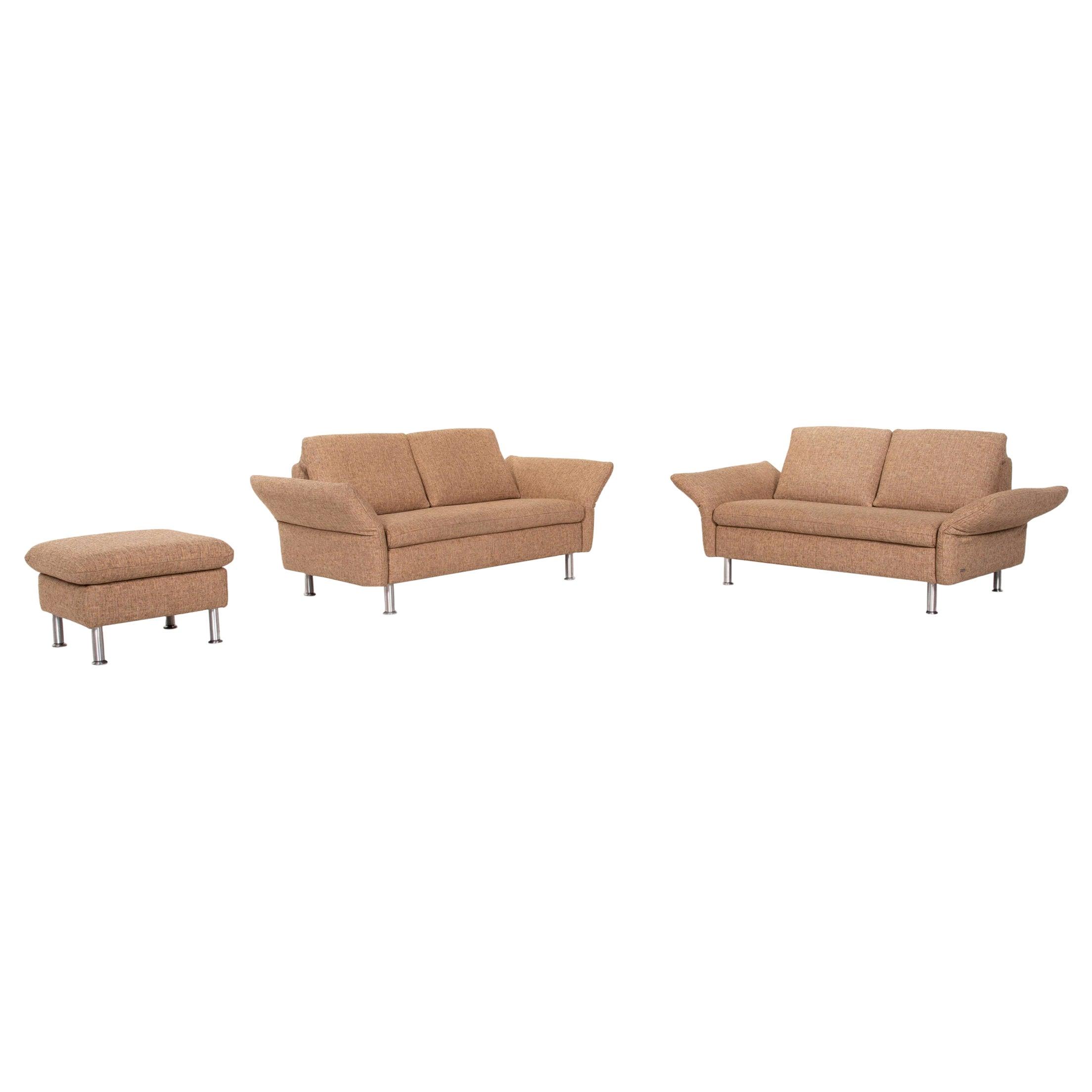 Koinor Vittoria Fabric Sofa Set Beige 2x Two-Seater 1x Stool Function