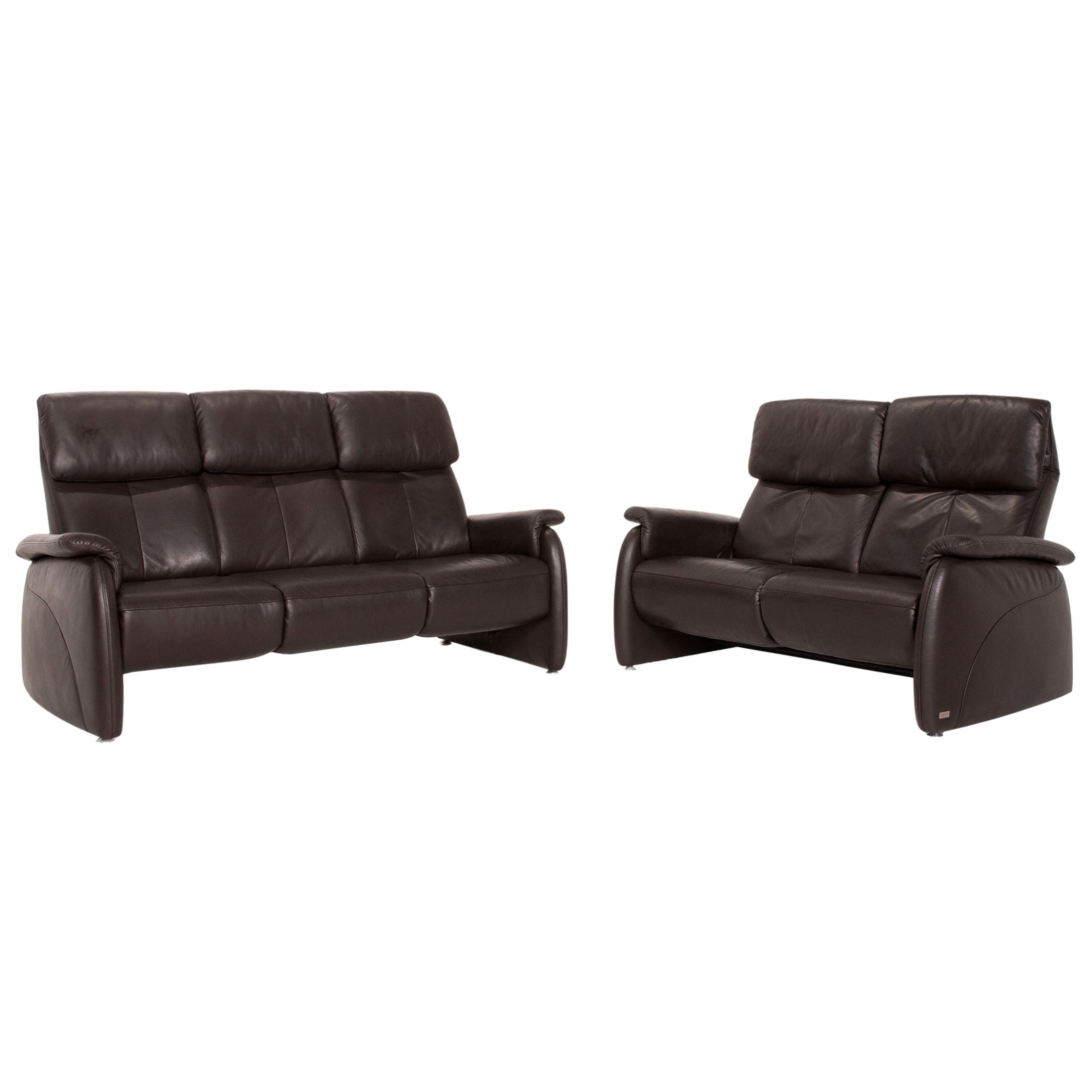 Willi Schillig Leather Sofa Set Brown Dark Brown 1x Three-Seater 1x Two-Seater