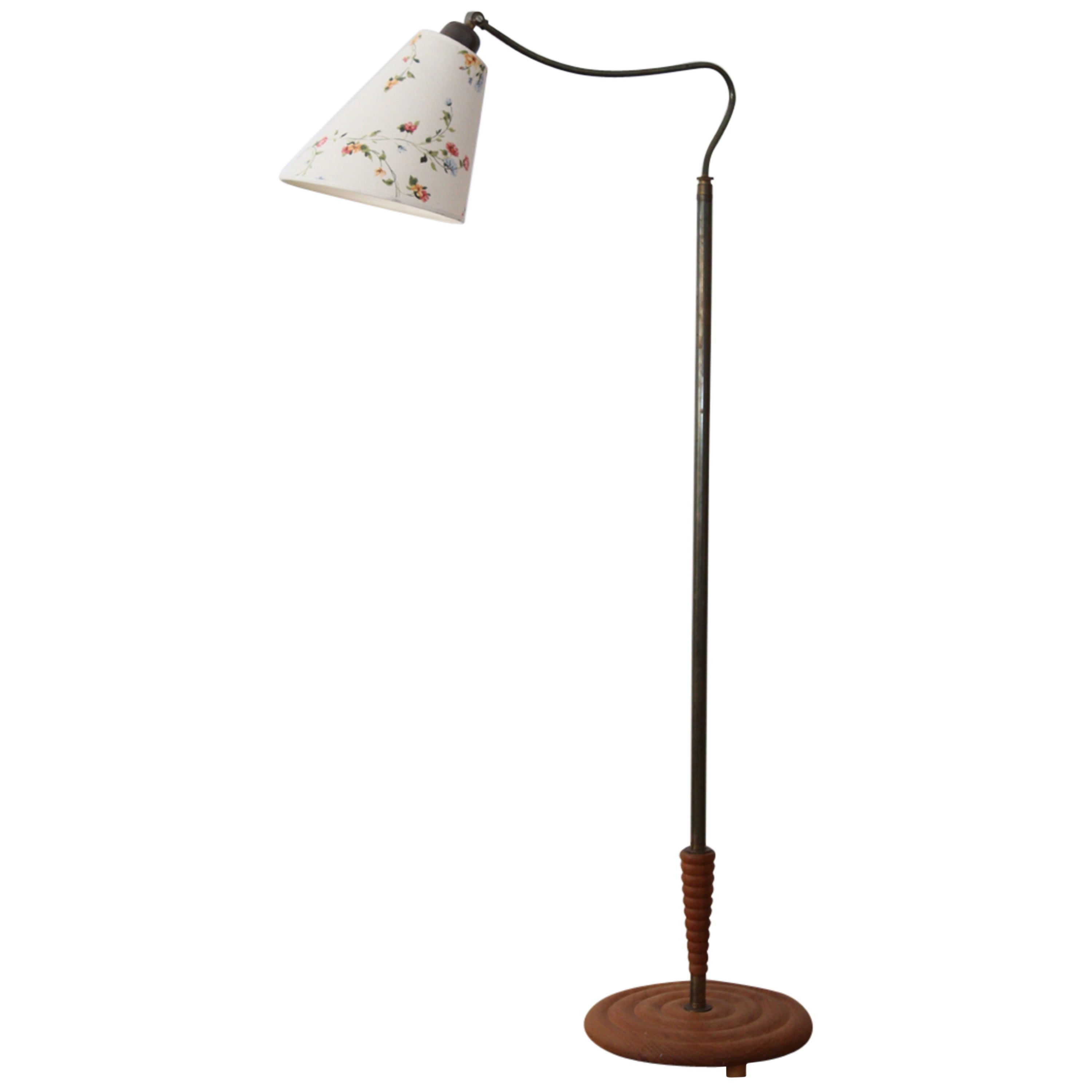 Swedish Designer, Organic Functionalist Floor Lamp, Brass, Wood, Fabric, 1940s