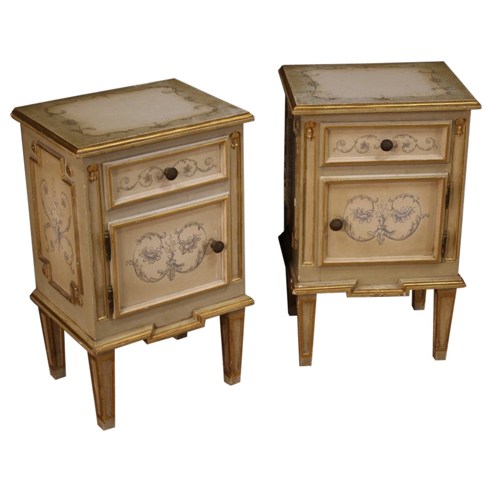 Pair of 20th Century Lacquered Painted Gilt Wood Louis XVI Style Bedside Tables