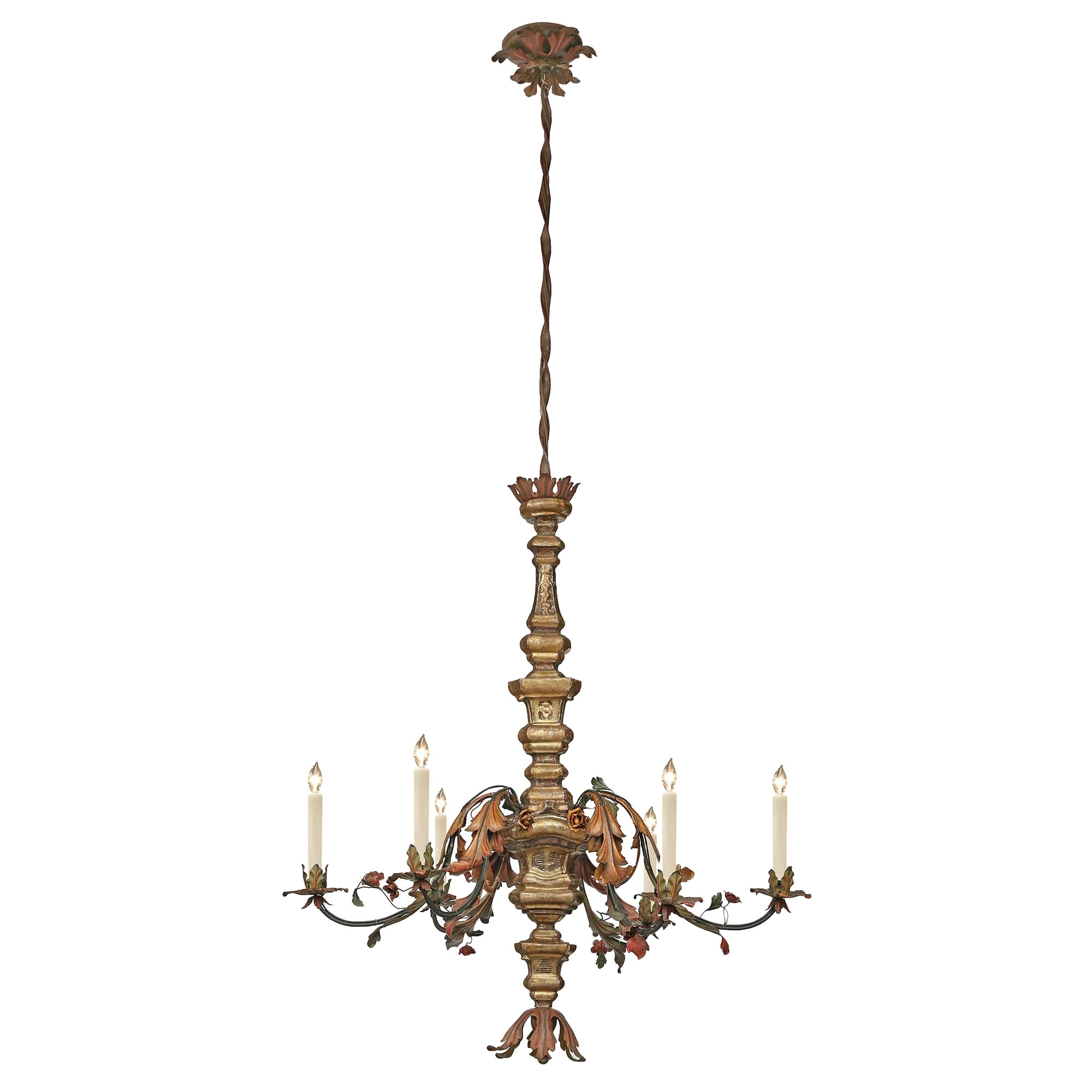 Italian Early 19th Century Mecca and Hand Painted Pressed Metal Chandelier