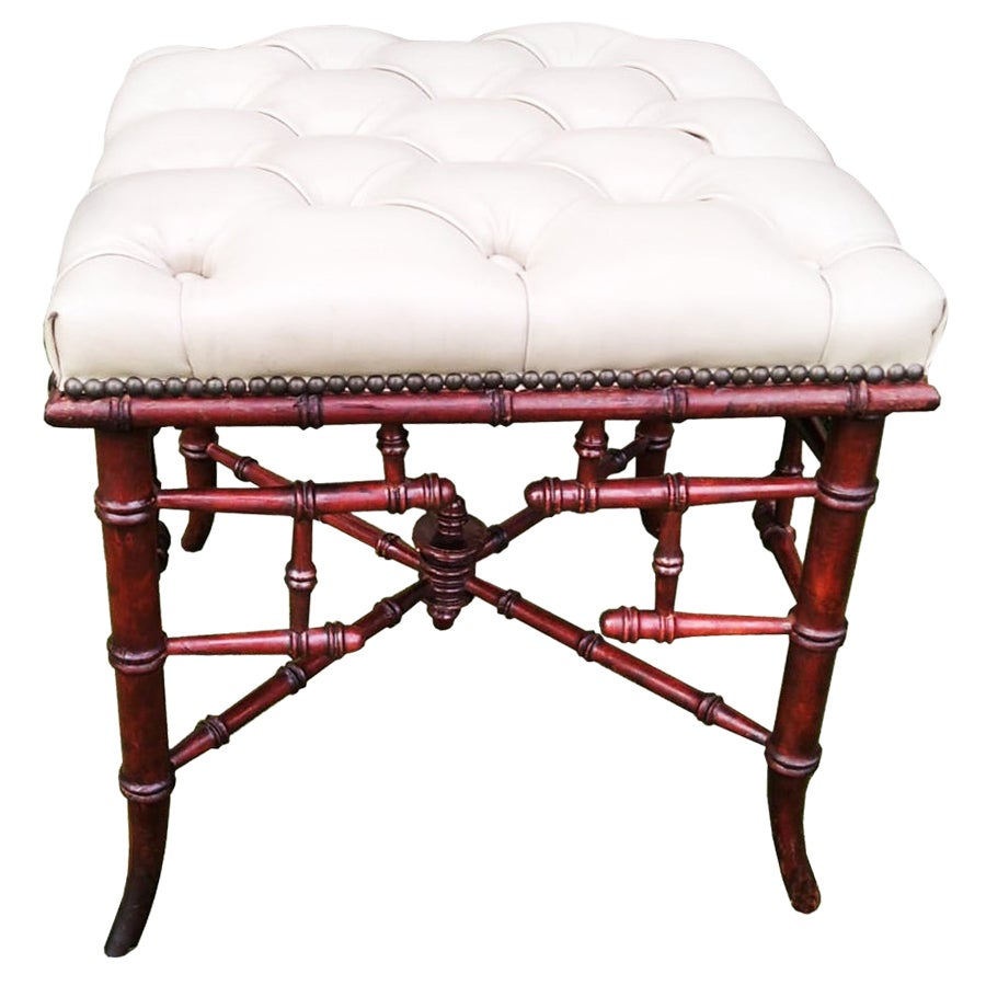 Chinese Chippendale Faux Bamboo Stool Whit Capitone