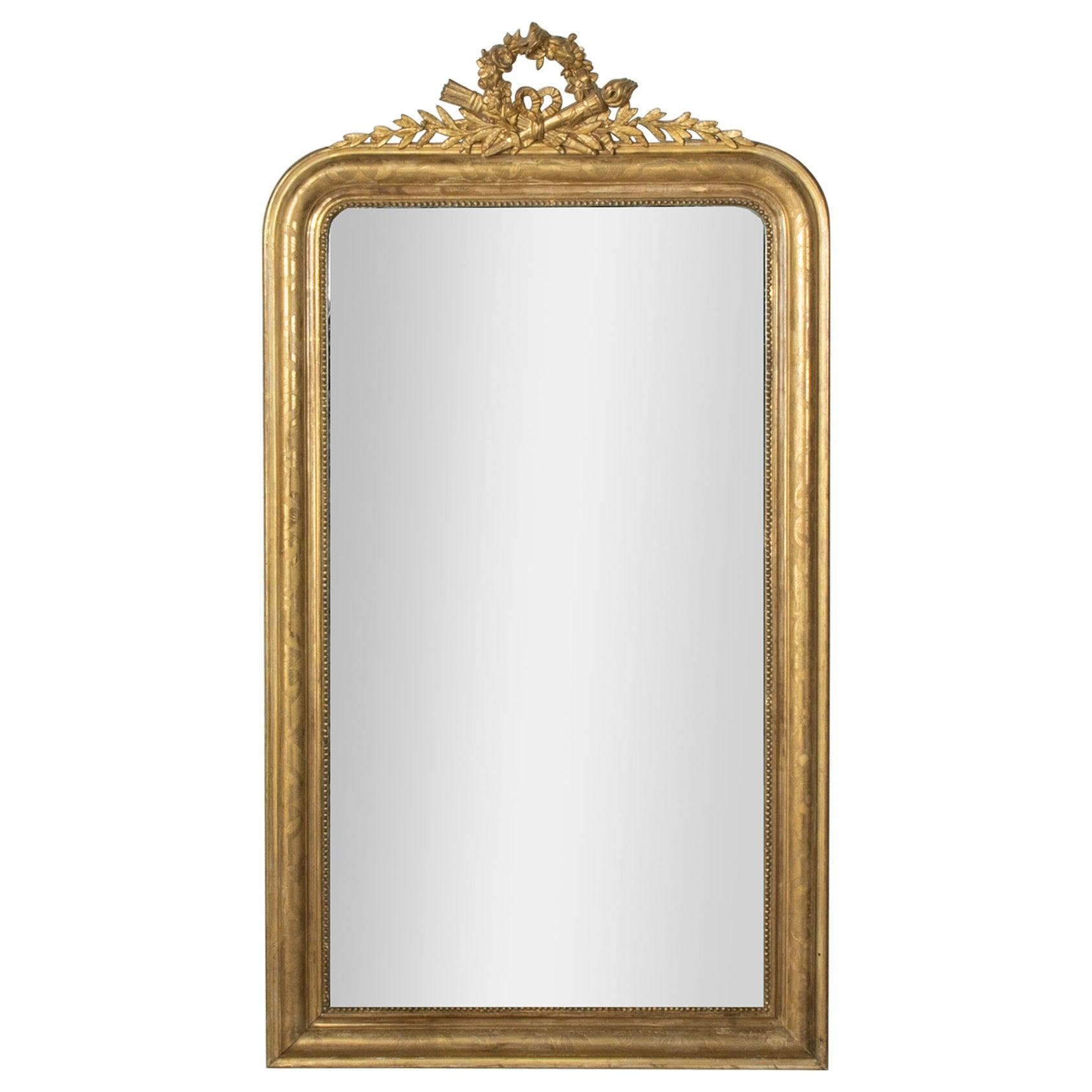 Mid-19th Century French Louis Philippe Style Gilt Wood Mirror, Louis XVI Motif